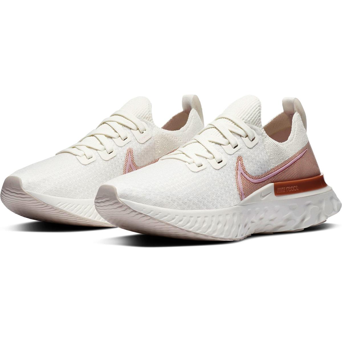 Women's Nike React Infinity Run Flyknit Running Shoe - Color: Sail/Metallic Copper/White/Light Arctic Pink - Size: 5 - Width: Regular, Sail/Metallic Copper/White/Light Arctic Pink, large, image 5
