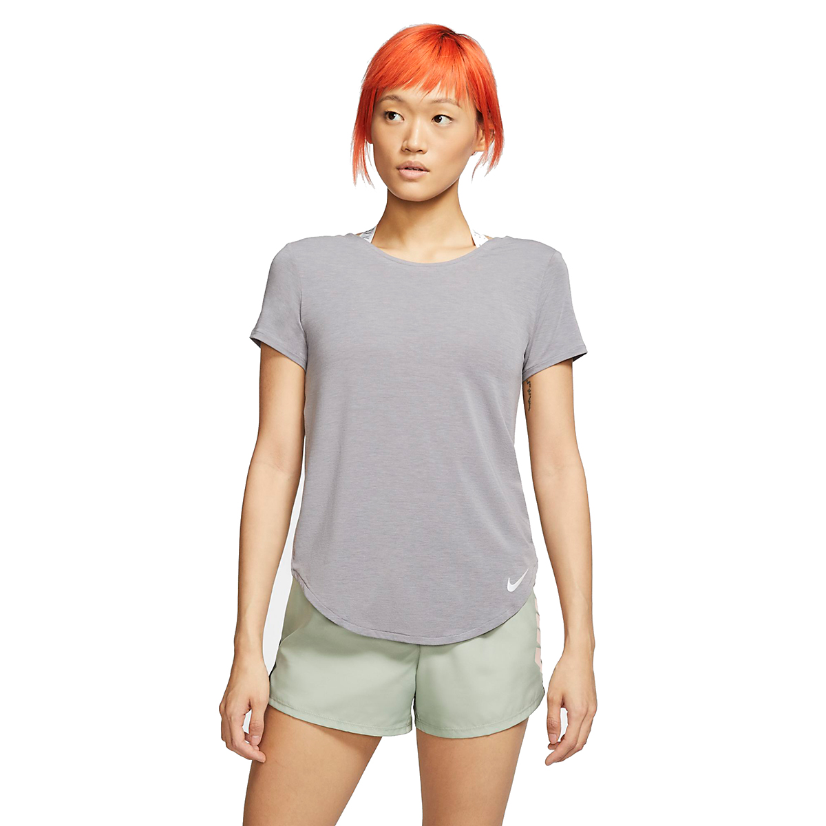 Women's Nike Twist Top Short Sleeve   - Color: Gunsmoke/Heather - Size: XL, Gunsmoke/Heather, large, image 1