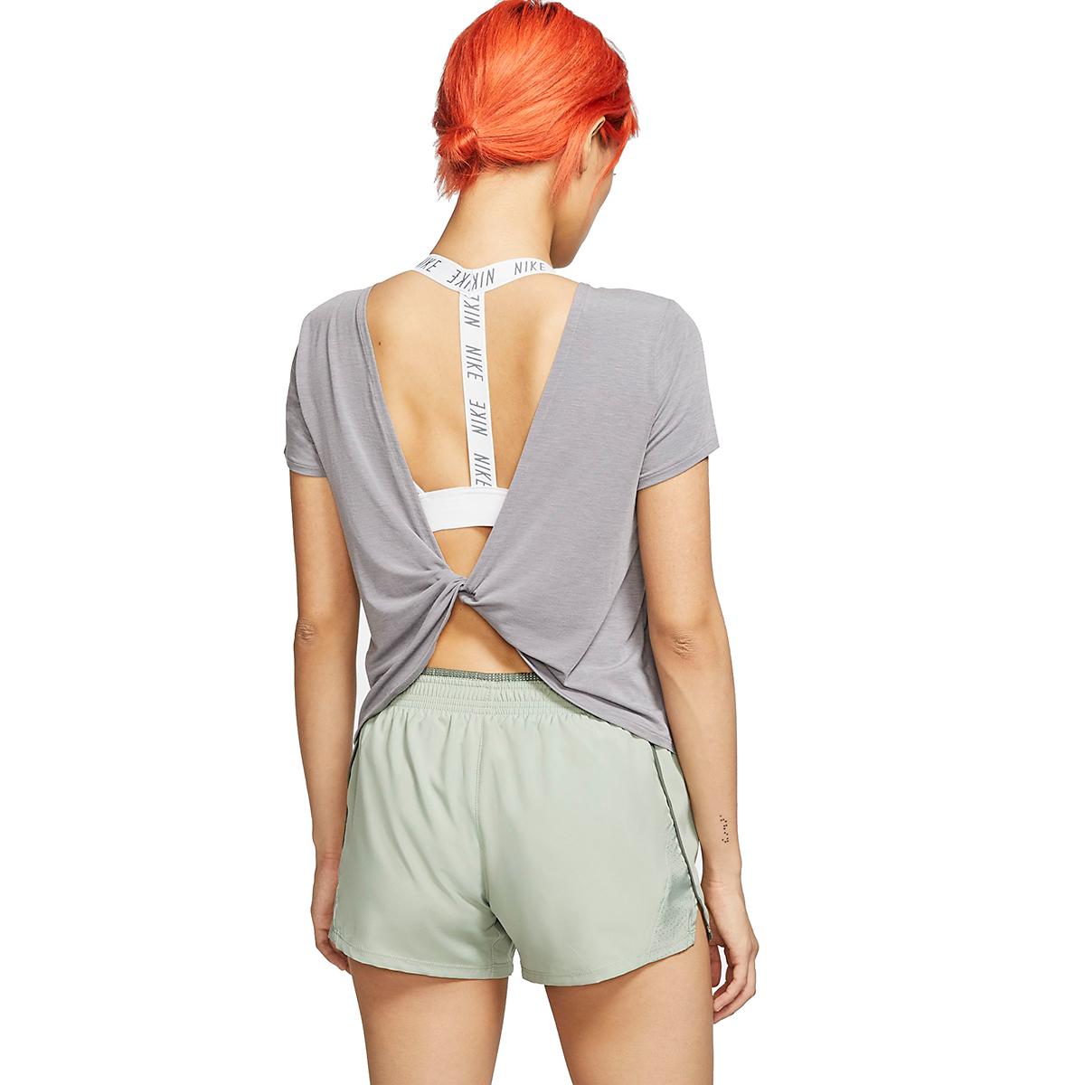 Women's Nike Twist Top Short Sleeve   - Color: Gunsmoke/Heather - Size: XL, Gunsmoke/Heather, large, image 2