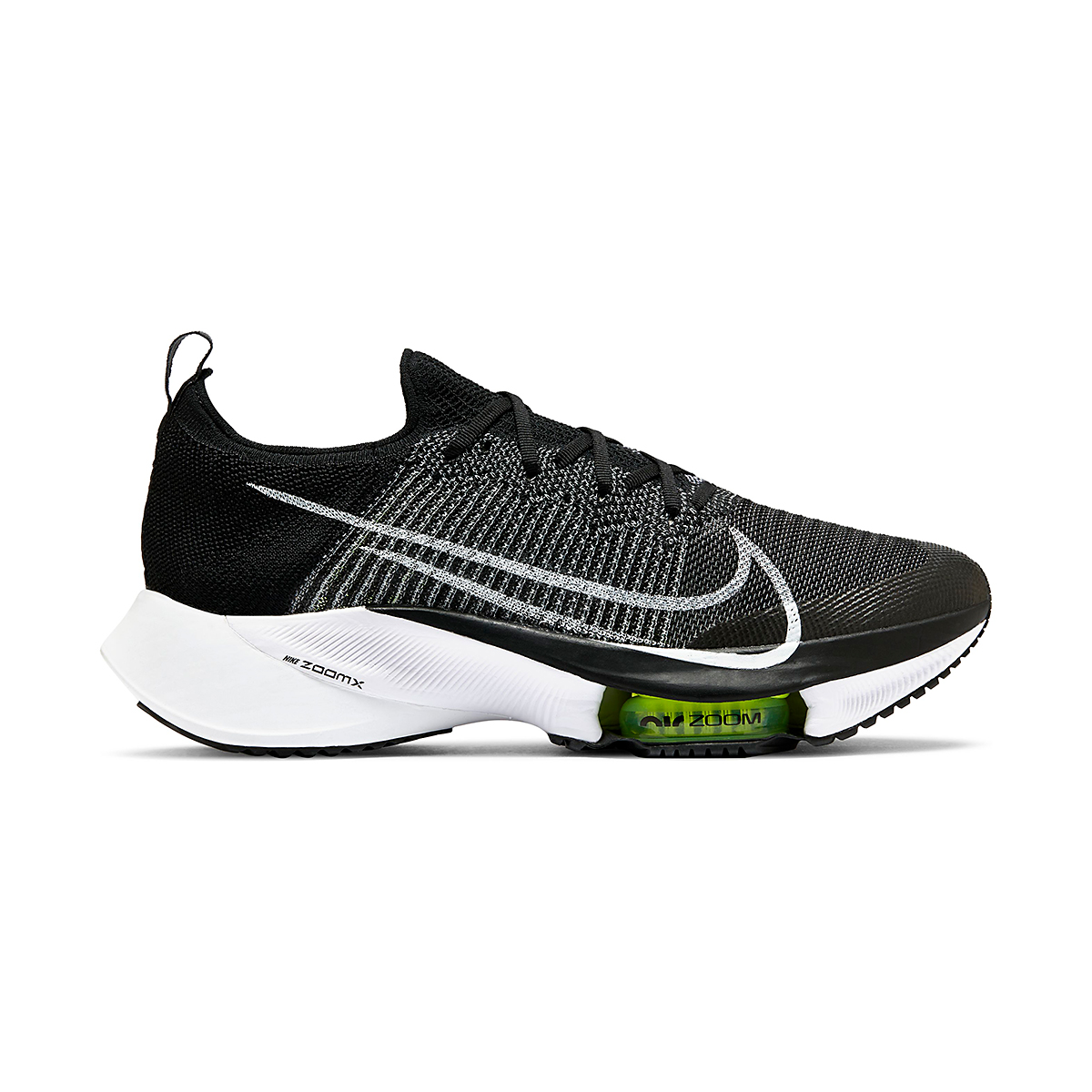 Men's Nike Air Zoom Tempo NEXT% Running Shoe - Color: Black/White-Volt - Size: 6 - Width: Regular, Black/White-Volt, large, image 1