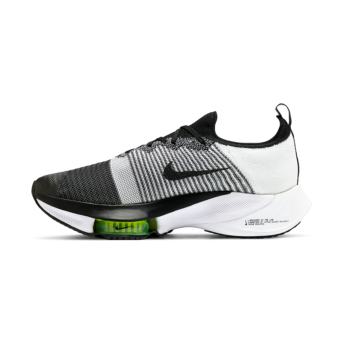 Men's Nike Air Zoom Tempo NEXT% Running Shoe - Color: Black/White-Volt - Size: 6 - Width: Regular, Black/White-Volt, large, image 2
