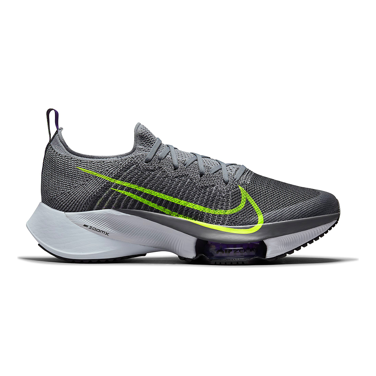 Men's Nike Air Zoom Tempo Next% Running Shoe - Color: Perticle Grey/Volt Grey/Wild Berry - Size: 10 - Width: Regular, Perticle Grey/Volt Grey/Wild Berry, large, image 1