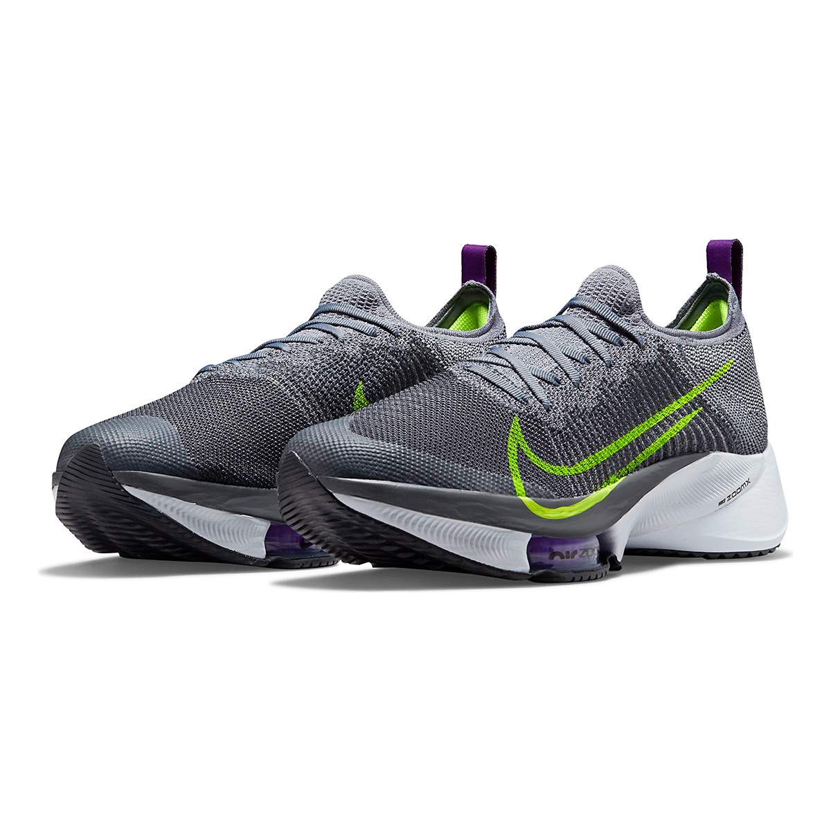 Men's Nike Air Zoom Tempo Next% Running Shoe - Color: Perticle Grey/Volt Grey/Wild Berry - Size: 10 - Width: Regular, Perticle Grey/Volt Grey/Wild Berry, large, image 4