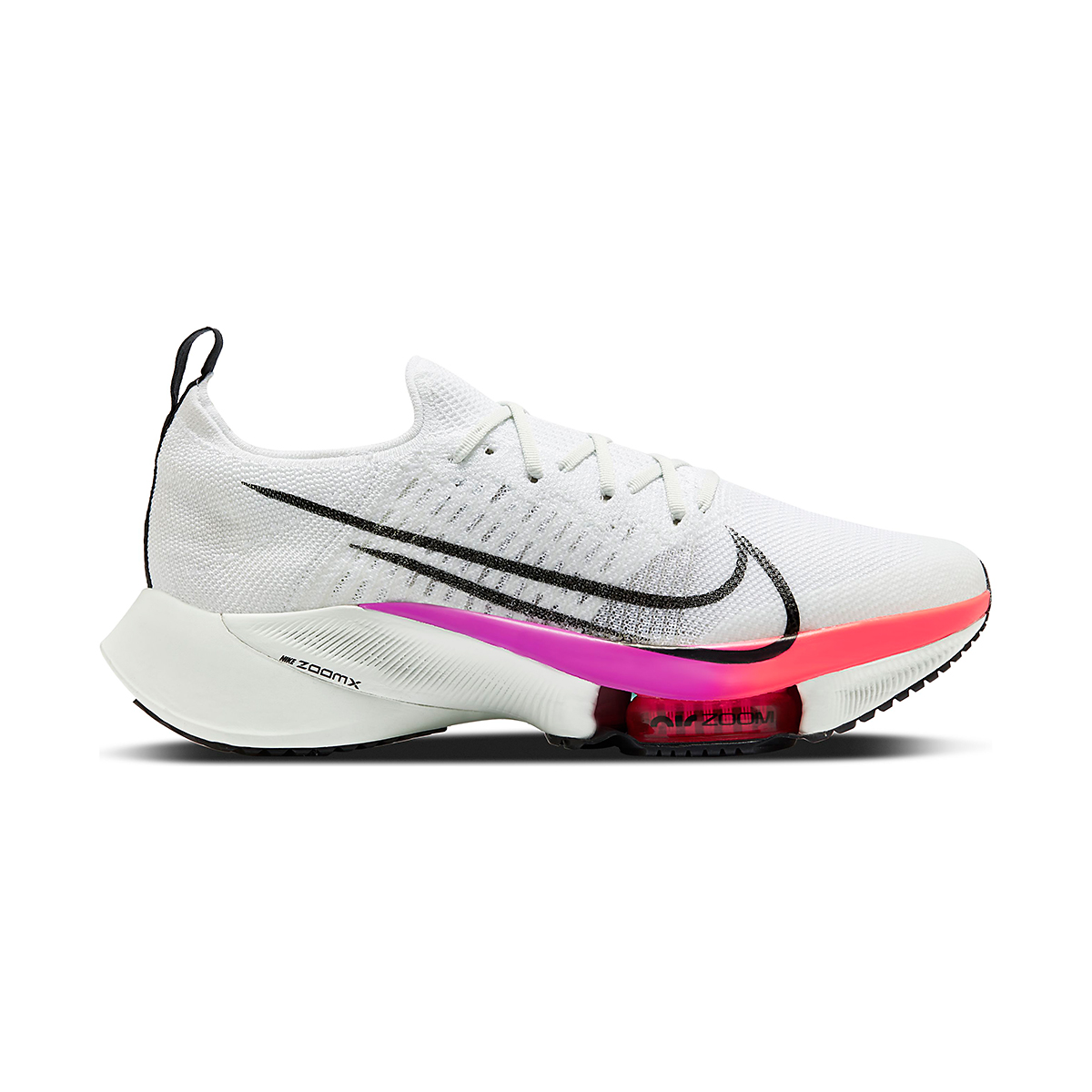 Men's Nike Air Zoom Tempo NEXT% Running Shoe - Color: White/Black-Hyper Violet-Flash Crimson - Size: 6 - Width: Regular, White/Black-Hyper Violet-Flash Crimson, large, image 1