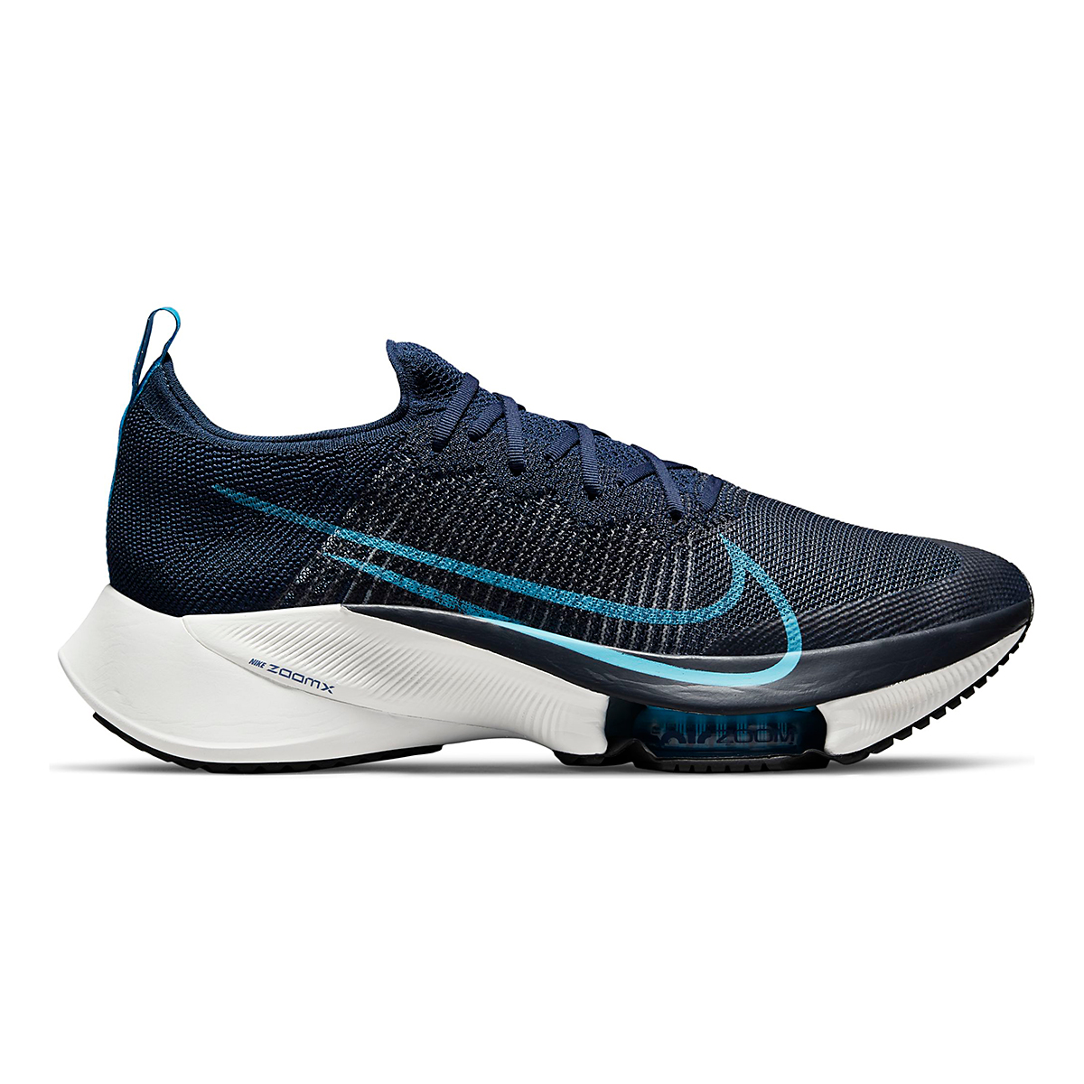Men's Nike Air Zoom Tempo Next% Running Shoe - Color: College Navy/Chlorine Blue/Platinum Tint - Size: 7.5 - Width: Regular, College Navy/Chlorine Blue/Platinum Tint, large, image 1