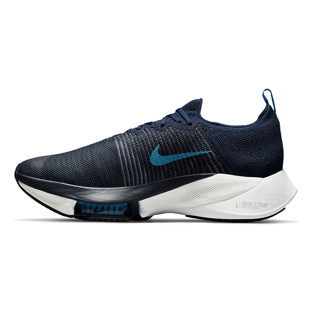 Men's Nike Air Zoom Tempo Next% Running Shoe - Color: College Navy/Chlorine Blue/Platinum Tint - Size: 7.5 - Width: Regular, College Navy/Chlorine Blue/Platinum Tint, large, image 2