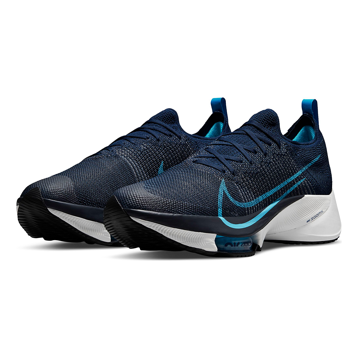 Men's Nike Air Zoom Tempo Next% Running Shoe - Color: College Navy/Chlorine Blue/Platinum Tint - Size: 7.5 - Width: Regular, College Navy/Chlorine Blue/Platinum Tint, large, image 4