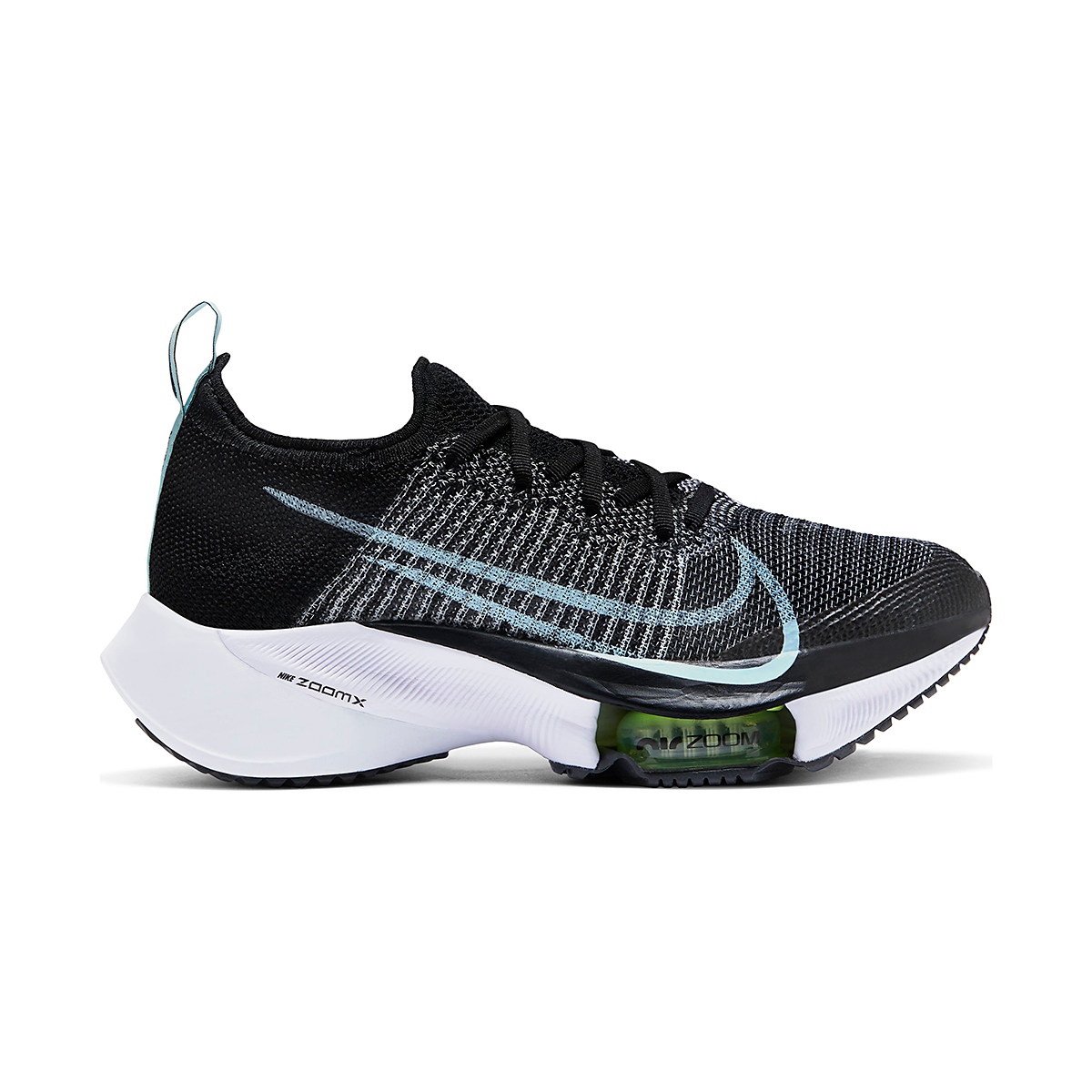 Women's Nike Air Zoom Tempo NEXT% Running Shoe - Color: Black/Glacier Ice-White-Barley Volt - Size: 5 - Width: Regular, Black/Glacier Ice-White-Barley Volt, large, image 1