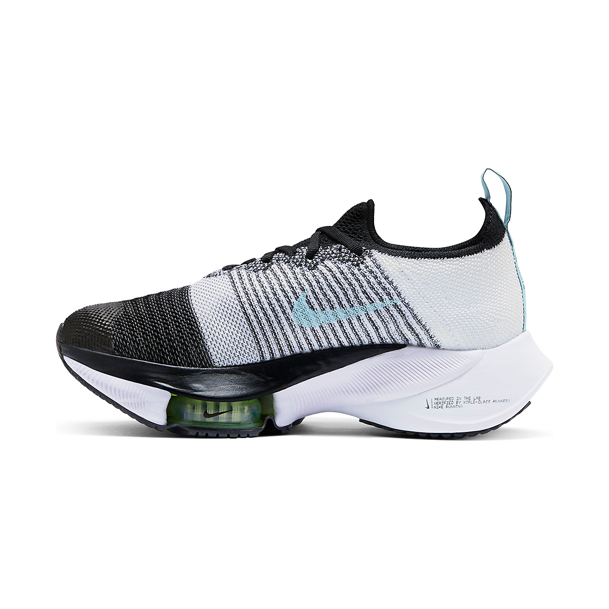 Women's Nike Air Zoom Tempo NEXT% Running Shoe - Color: Black/Glacier Ice-White-Barley Volt - Size: 5 - Width: Regular, Black/Glacier Ice-White-Barley Volt, large, image 2