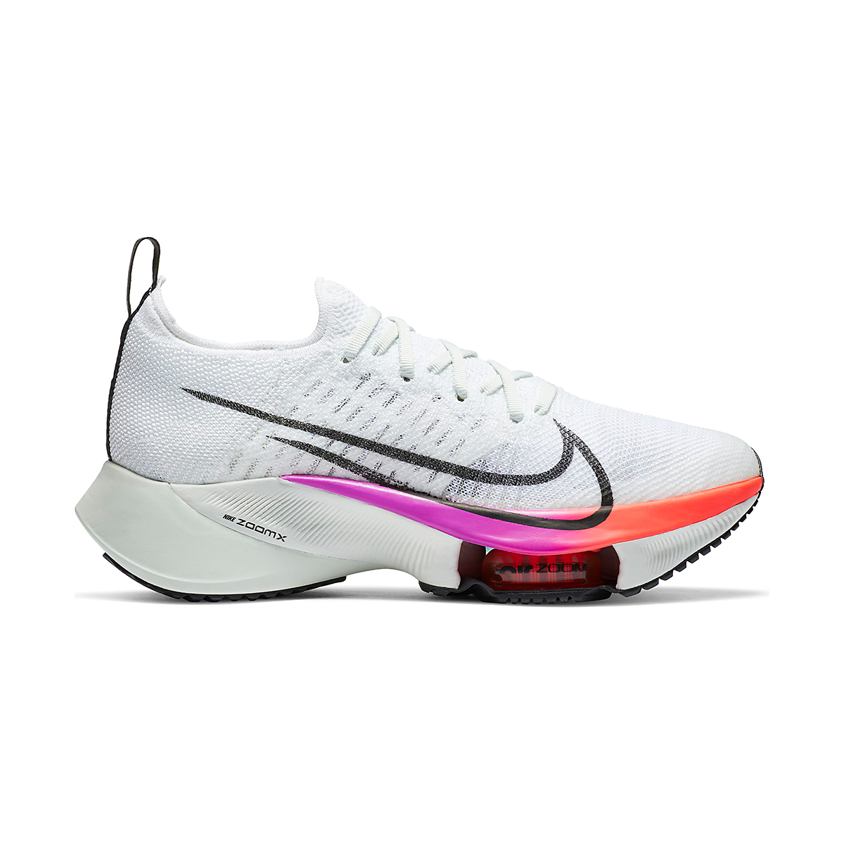 Women's Nike Air Zoom Tempo NEXT% Running Shoe - Color: White/Black-Hyper Violet-Flash Crimson - Size: 5 - Width: Regular, White/Black-Hyper Violet-Flash Crimson, large, image 1