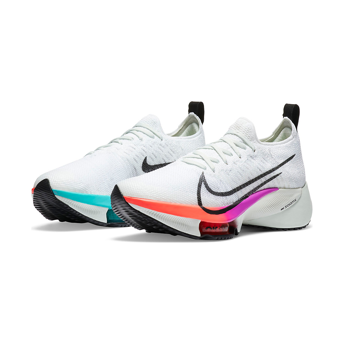 Women's Nike Air Zoom Tempo NEXT% Running Shoe - Color: White/Black-Hyper Violet-Flash Crimson  - Size: 5 - Width: Regular, White/Black-Hyper Violet-Flash Crimson, large, image 4