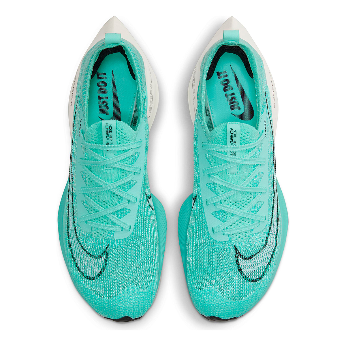 Men's Nike Air Zoom Alphafly Next% Running Shoe - Color: Hyper Turq/White-Black-Oracle Aqua - Size: 6 - Width: Regular, Hyper Turq/White-Black-Oracle Aqua, large, image 3
