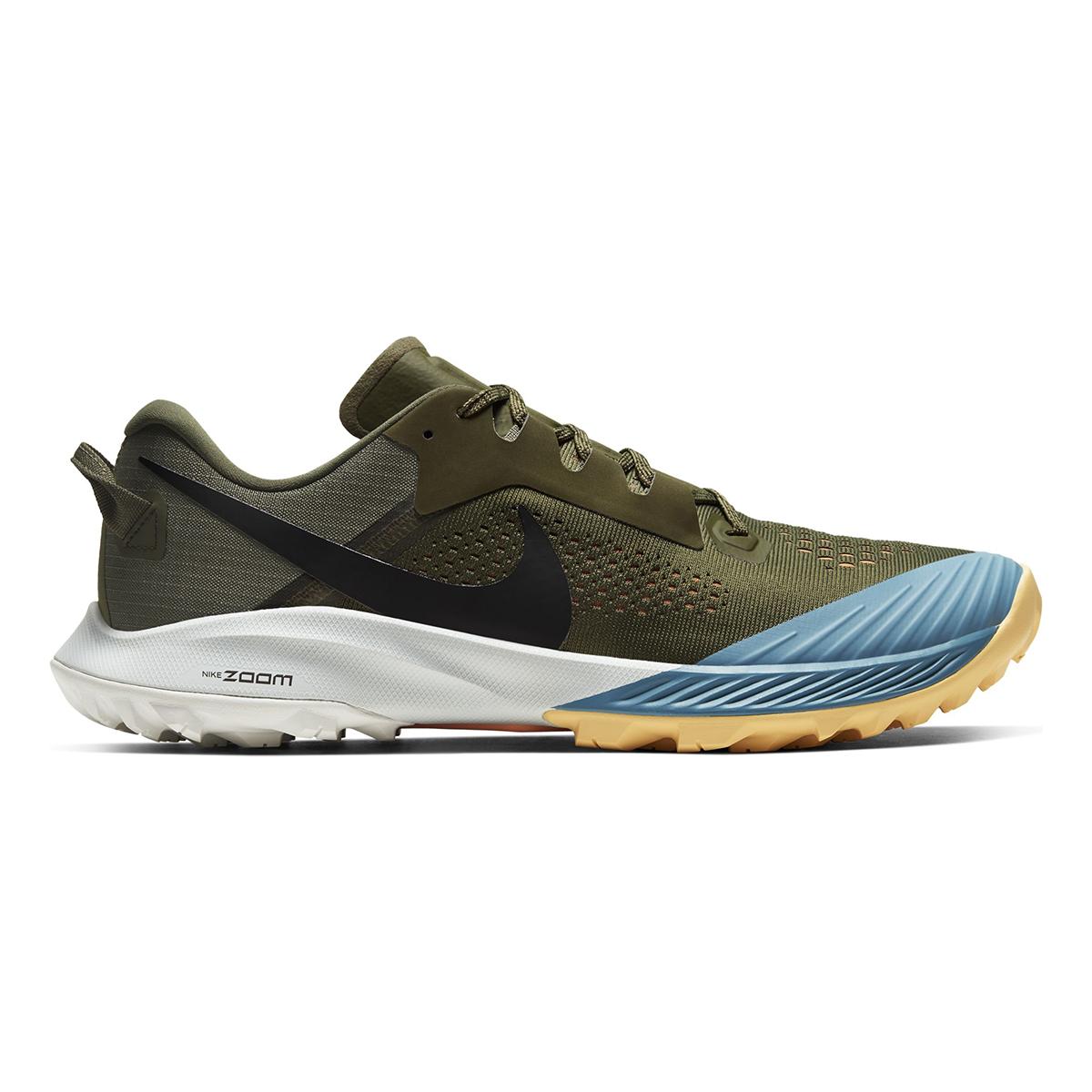 Men's Nike Air Zoom Terra Kiger 6 Trail Running Shoe - Color: Medium Olive/Orange Trance/Cerulean/Black (Regular Width) - Size: 6, Medium Olive/Orange Trance/Cerulean/Black, large, image 1