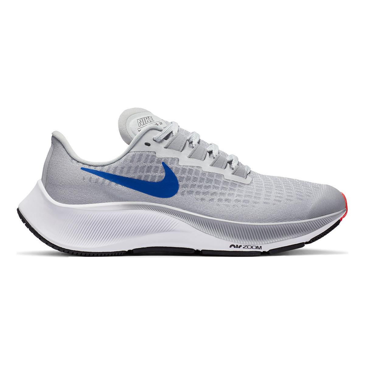 Kid's Nike Air Zoom Pegasus 37 Running Shoe - Color: Pure Platinum/Wolf Grey/Bright Crimson/Racer Blue - Size: 1 - Width: Regular, Pure Platinum/Wolf Grey/Bright Crimson/Racer Blue, large, image 1