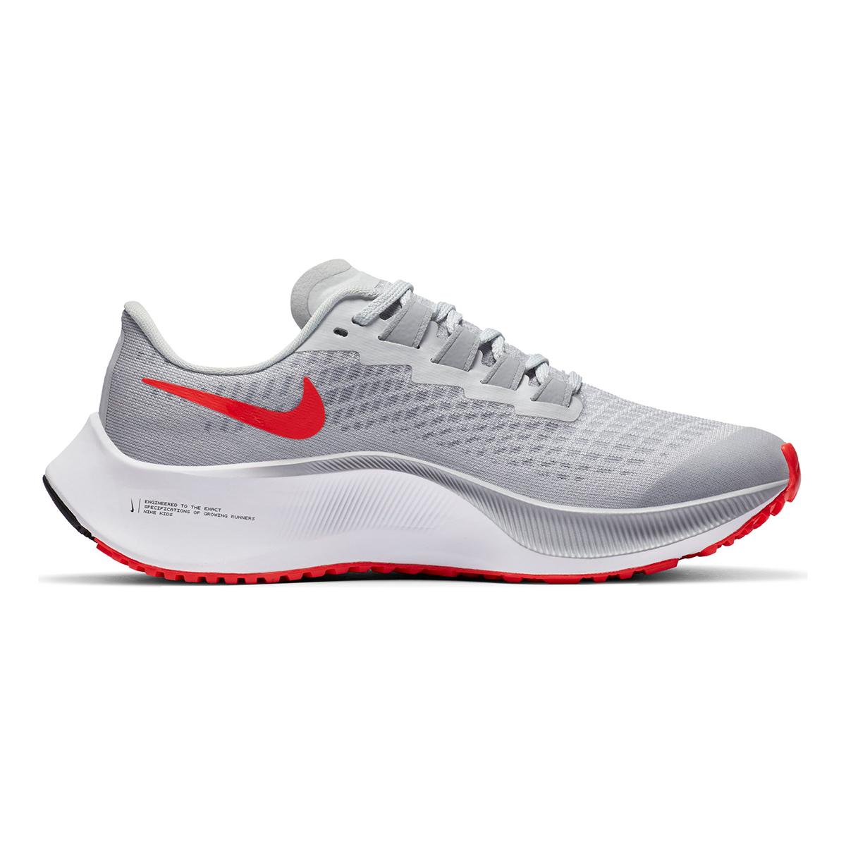Kid's Nike Air Zoom Pegasus 37 Running Shoe - Color: Pure Platinum/Wolf Grey/Bright Crimson/Racer Blue - Size: 1 - Width: Regular, Pure Platinum/Wolf Grey/Bright Crimson/Racer Blue, large, image 2