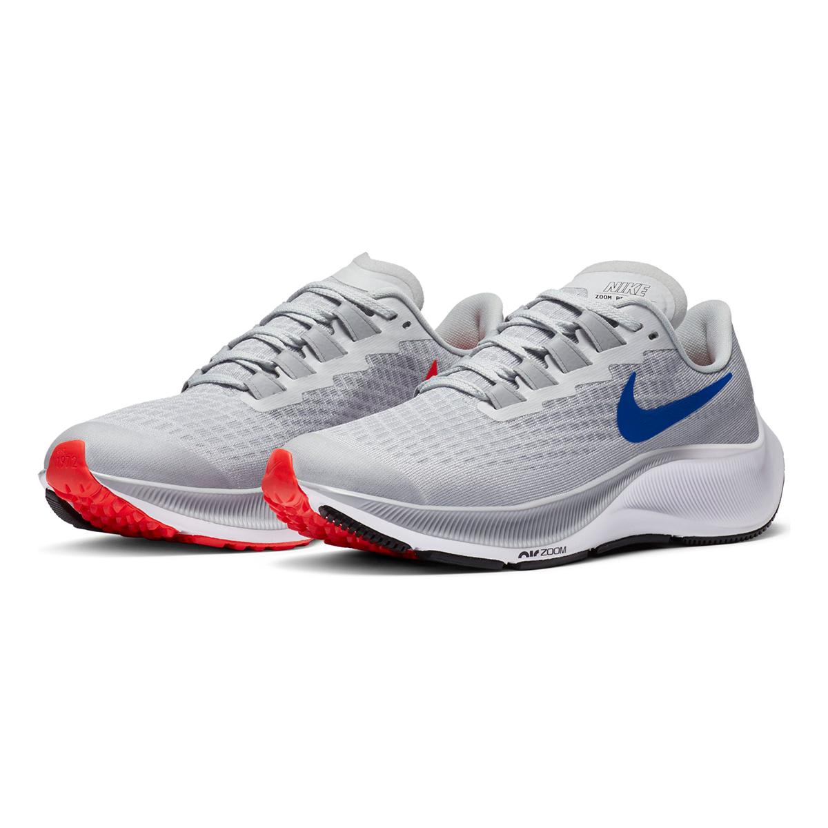 Kid's Nike Air Zoom Pegasus 37 Running Shoe - Color: Pure Platinum/Wolf Grey/Bright Crimson/Racer Blue - Size: 1 - Width: Regular, Pure Platinum/Wolf Grey/Bright Crimson/Racer Blue, large, image 4