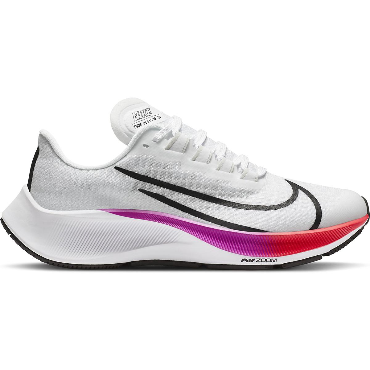 Kid's Nike Grade School Air Zoom Pegasus 37 Running Shoe - Color: White/Jade Aura-Flash Crimson - Size: 1 - Width: Regular, White/Jade Aura-Flash Crimson, large, image 1