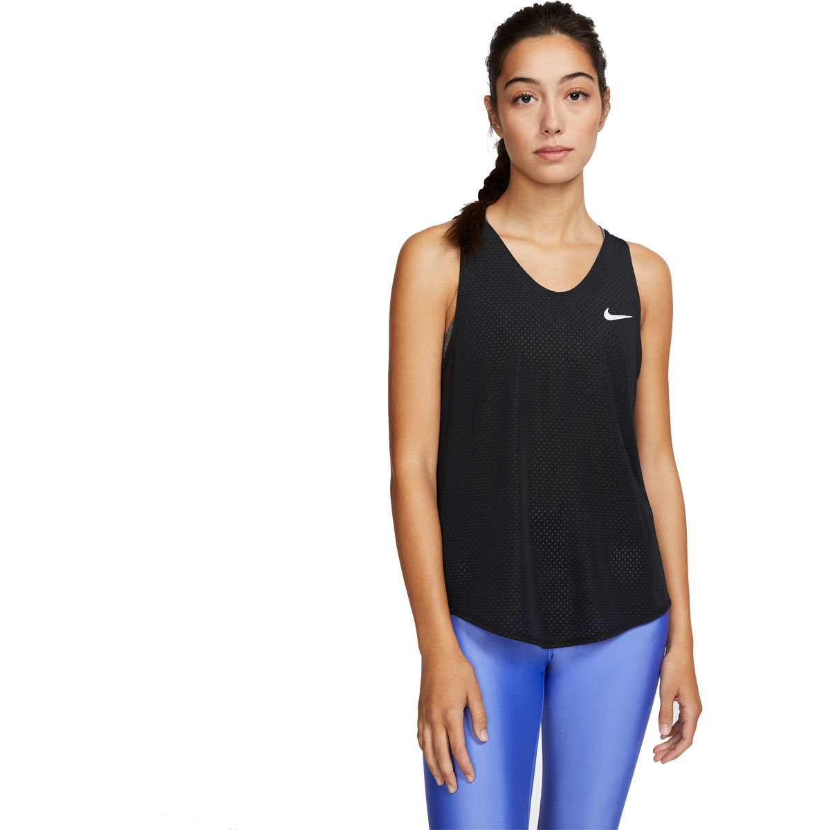 Women's Nike Breathe Running Tank - Color: Black/Reflective Silver - Size: XS, Black/Reflective Silver, large, image 1