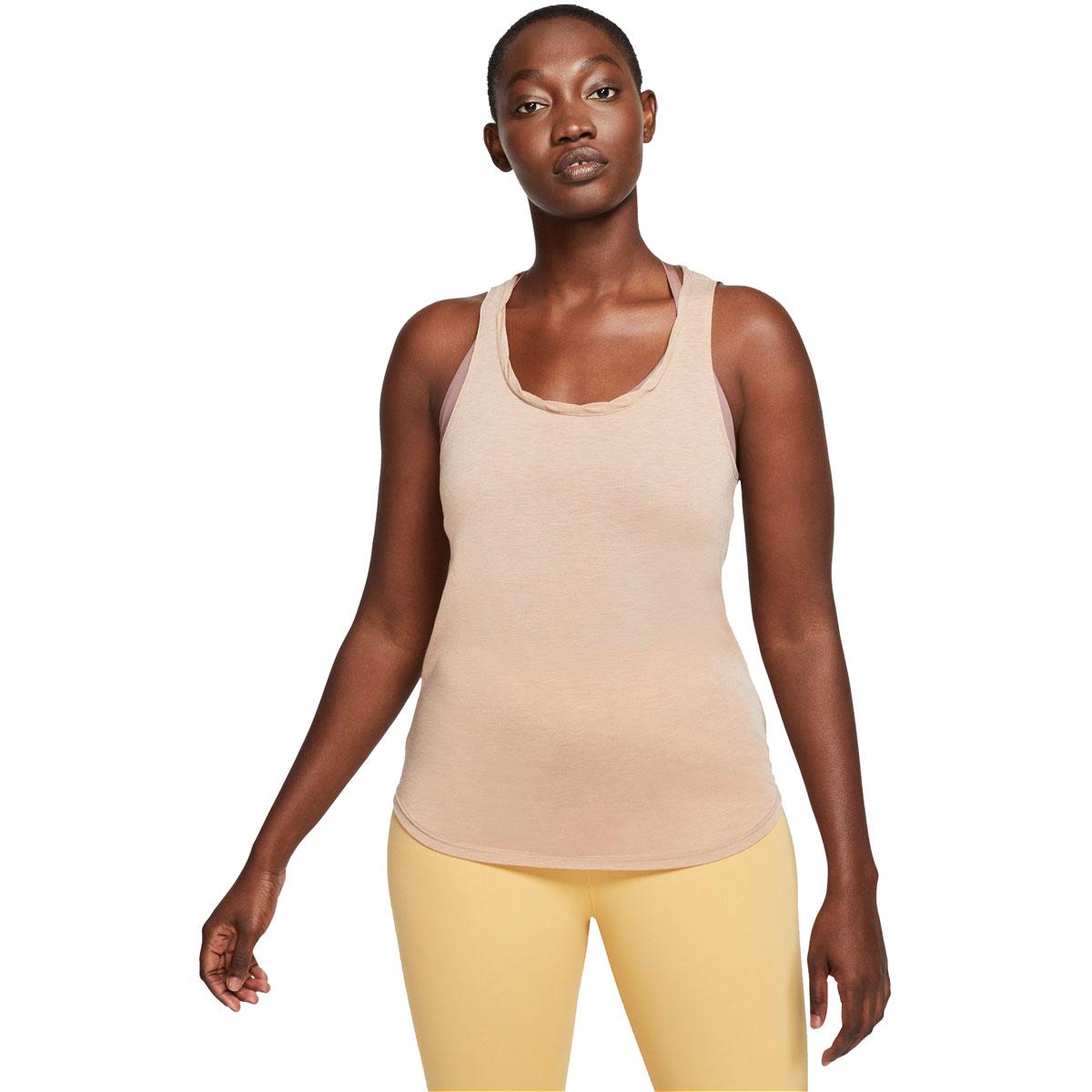 Women's Nike Yoga Tank - Color: Desert Dust/Htr/Fossil Stone - Size: L, Desert Dust/Heather/Fossil Stone, large, image 1