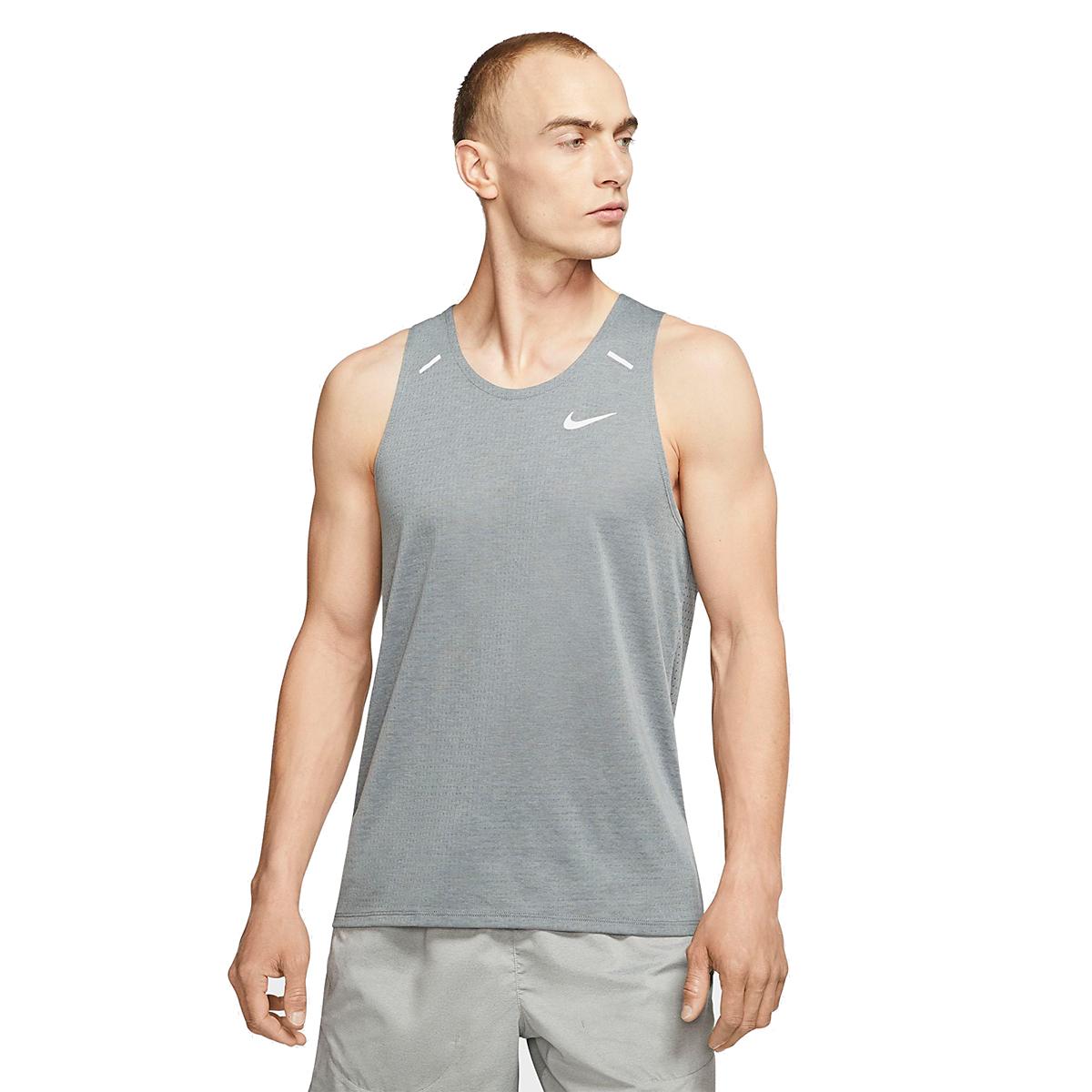 Men's Nike Rise 365 Running Tank - Color: Smoke Grey/Heather - Size: S, Smoke Grey/Heather, large, image 1