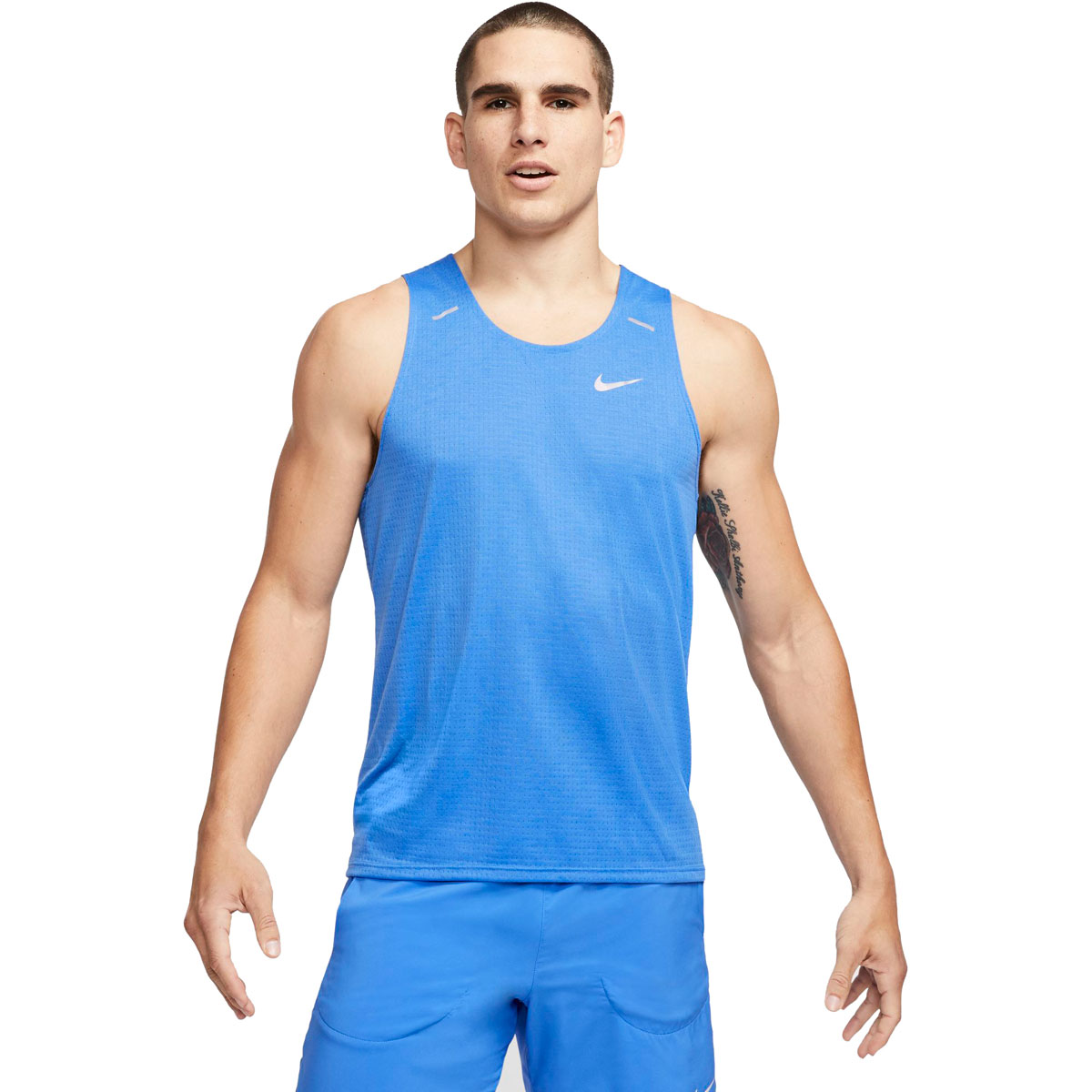 Men's Nike Rise 365 Running Tank - Color: Pacific Blue/Reflective Silver - Size: S, Pacific Blue/Reflective Silver, large, image 1
