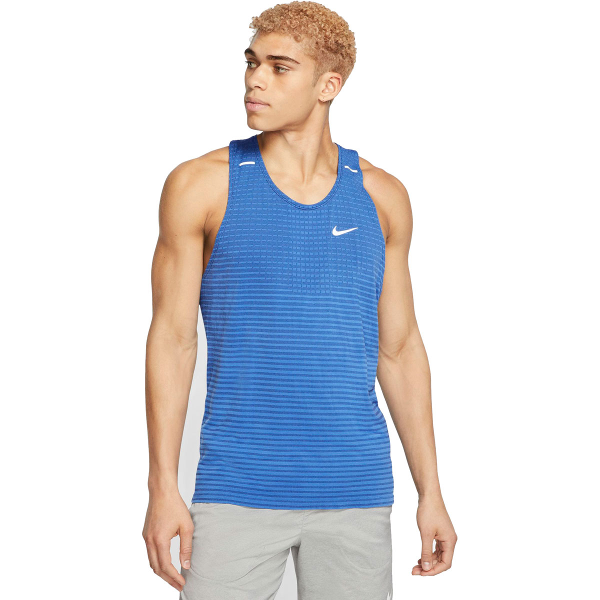 Men's Nike Techknit Ultra Running Tank - Color: Obsidian/Pacific Blue/Reflective Silver - Size: S, Obsidian/Pacific Blue/Reflective Silver, large, image 1