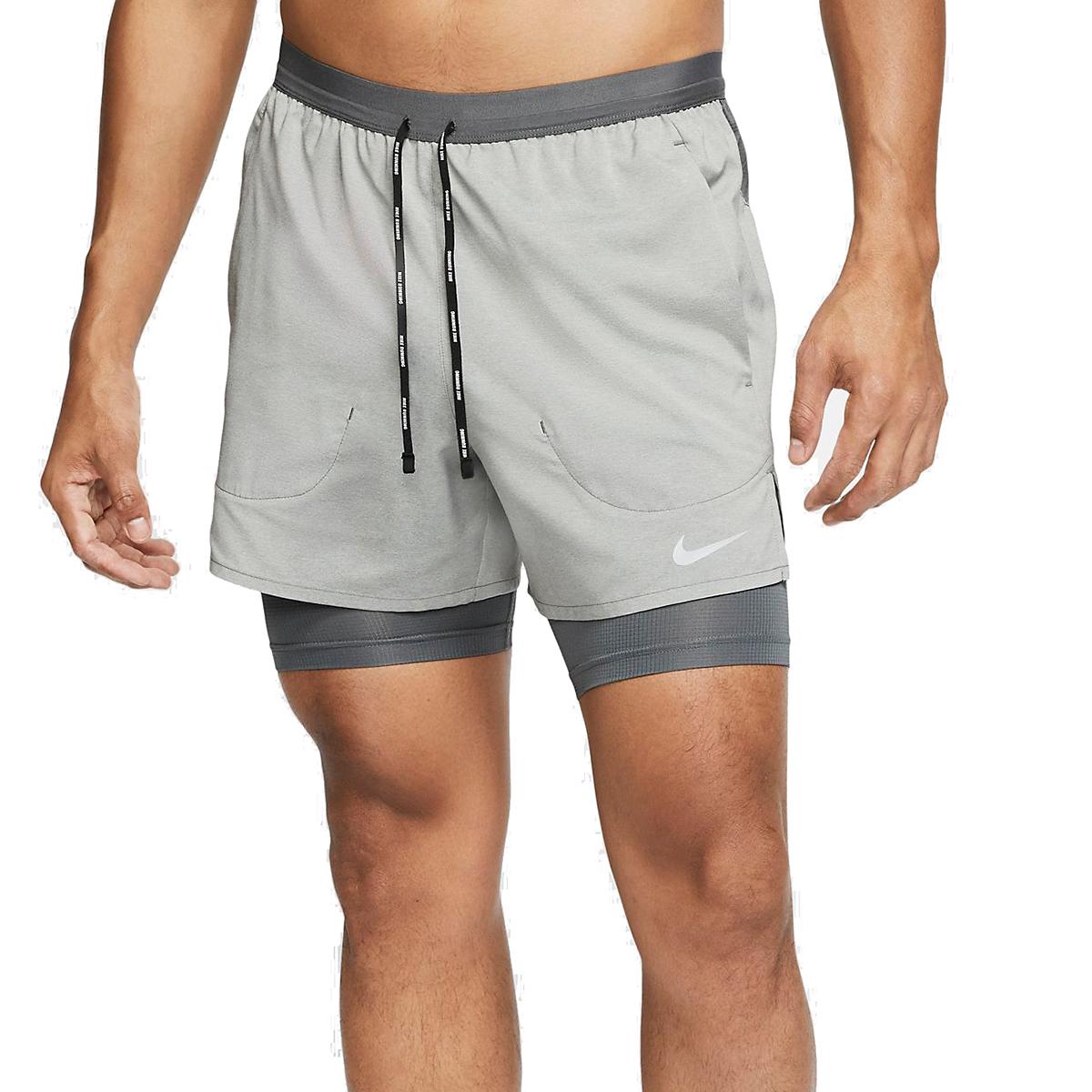 "Men's Nike Men's Flex Stride 5"" 2-in-1 Short - Color: Iron Grey/ Heather/Reflective Silver - Size: S, Iron Grey/ Heather/Reflective Silver, large, image 1"