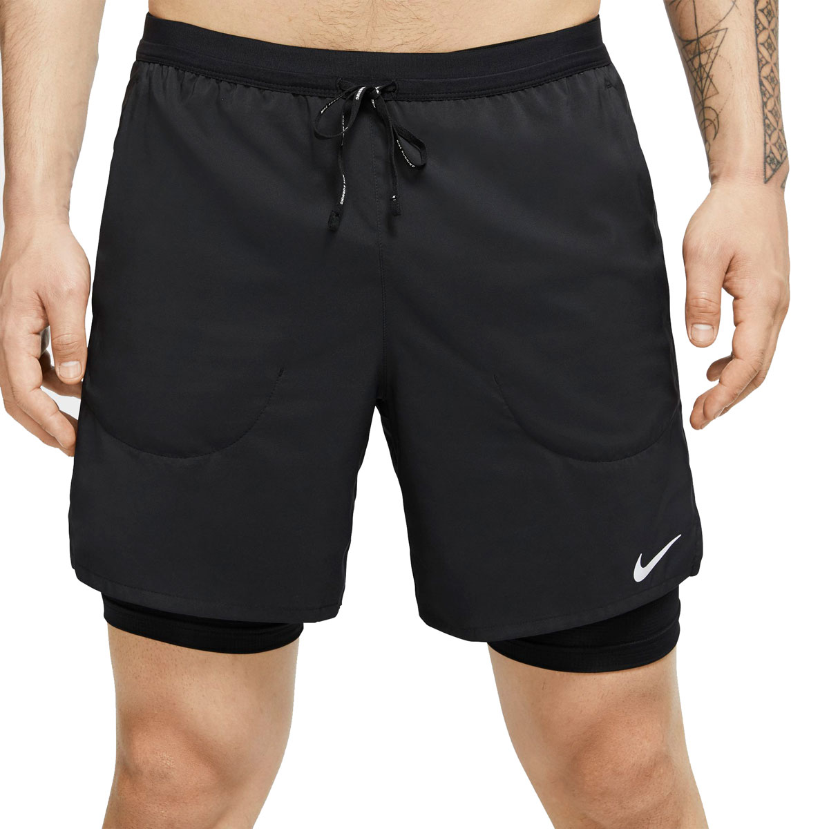 "Men's Nike Flex Stride 7"" 2-In-1 Running Shorts - Color: Black/Reflective Silver - Size: XXL, Black/Reflective Silver, large, image 1"