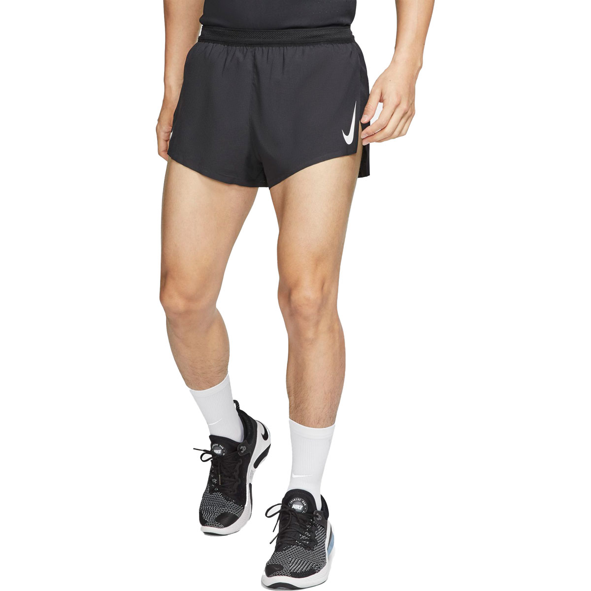 """Men's Nike AeroSwift 2"""" Running Shorts - Color: Black/White - Size: S, Black/White, large, image 1"""