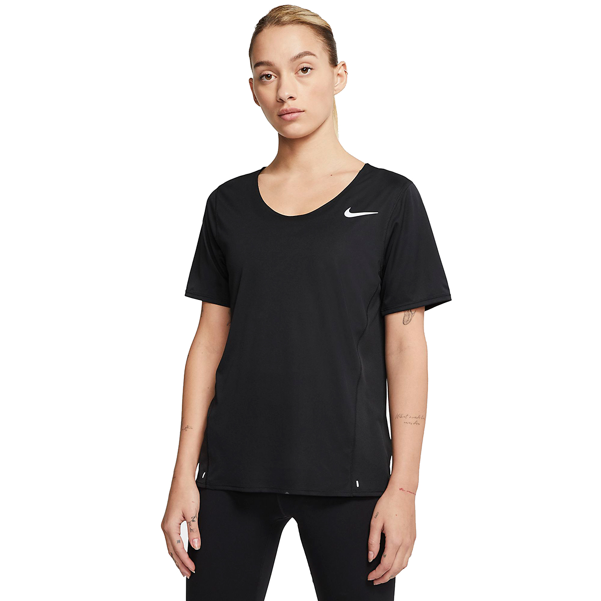 Women's Nike City Sleek Short Sleeve Top - Color: Black/Reflective Silver - Size: XS, Black/Reflective Silver, large, image 1