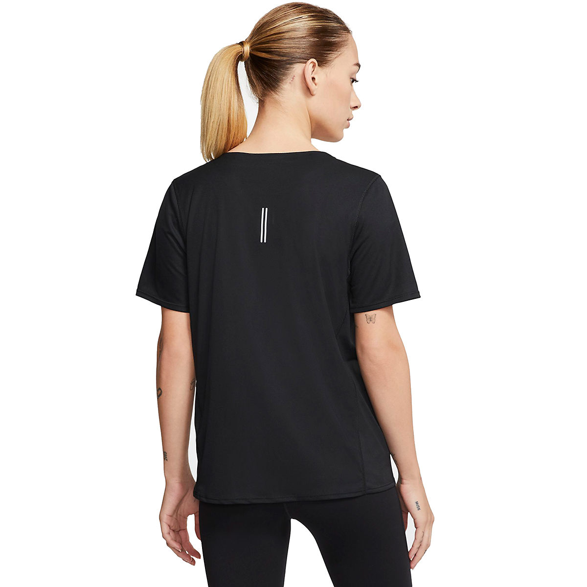 Women's Nike City Sleek Short Sleeve Top - Color: Black/Reflective Silver - Size: XS, Black/Reflective Silver, large, image 2