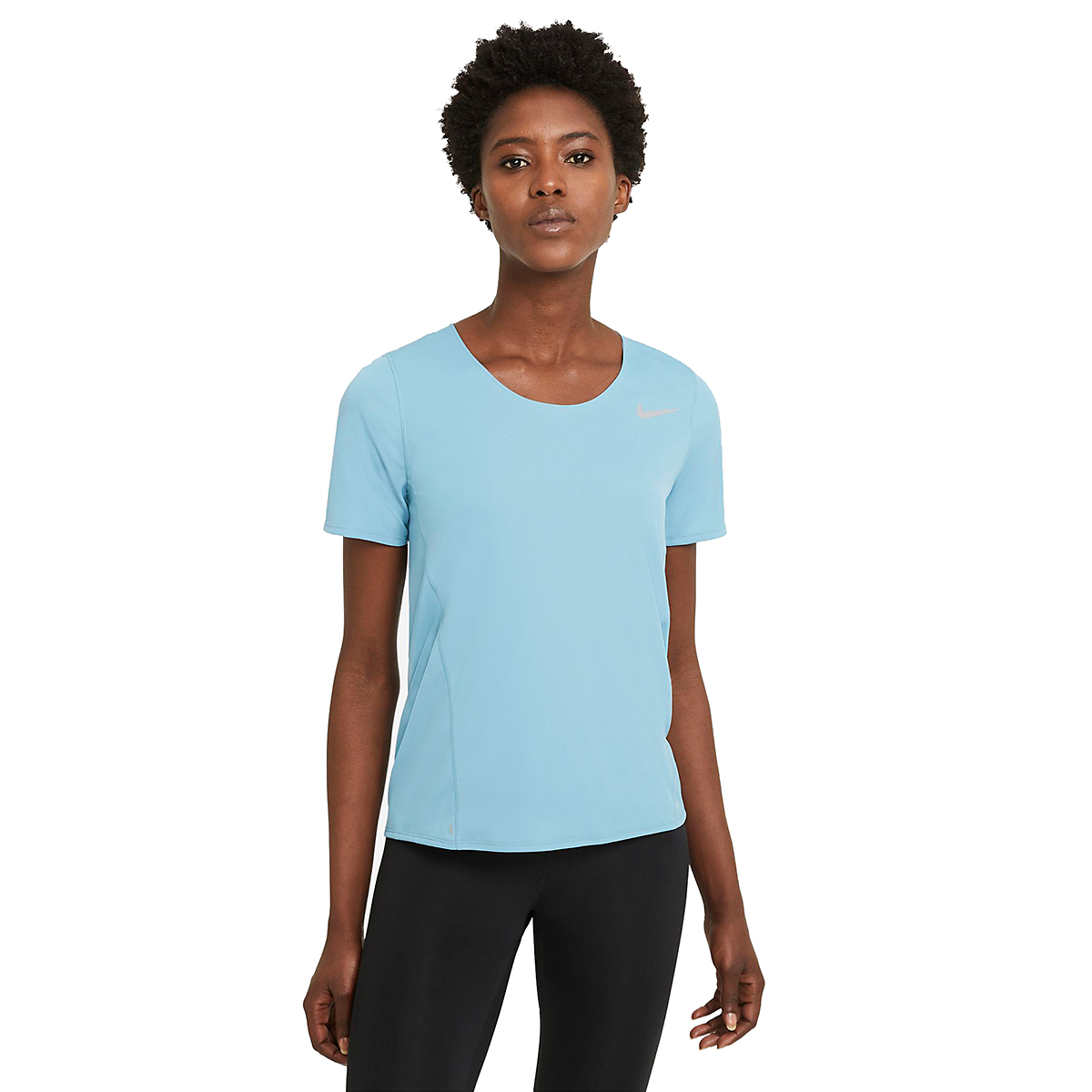 Women's Nike City Sleek Short Sleeve Top - Color: Cerulean/Reflective Silver - Size: XS, Cerulean/Reflective Silver, large, image 2