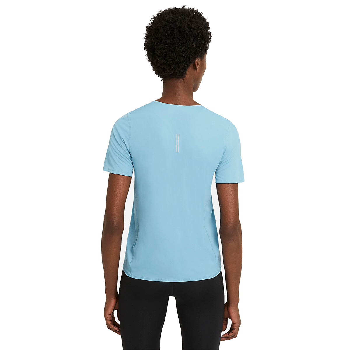 Women's Nike City Sleek Short Sleeve Top - Color: Cerulean/Reflective Silver - Size: XS, Cerulean/Reflective Silver, large, image 4