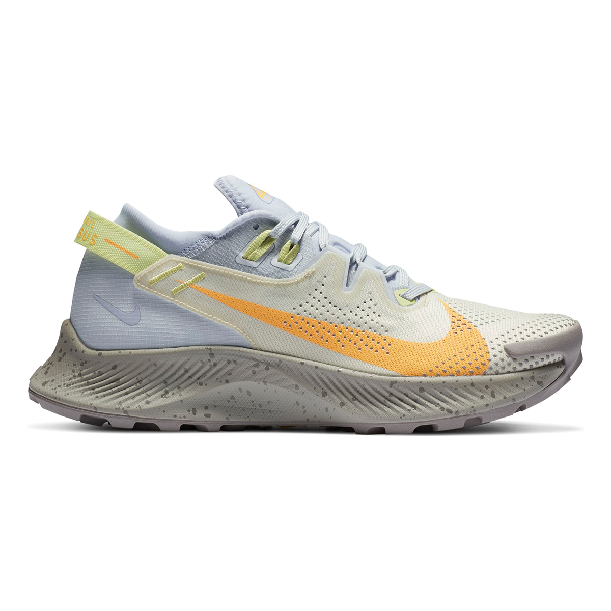 Women's Nike Pegasus Trail 2 Trail Running Shoe - Color: Pure Platinum/Fossil/Limelight/Laser Orange - Size: 5 - Width: Regular, Pure Platinum/Fossil/Limelight/Laser Orange, large, image 1