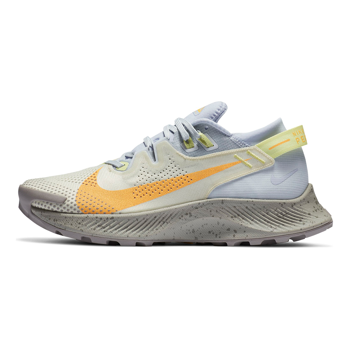 Women's Nike Pegasus Trail 2 Trail Running Shoe - Color: Pure Platinum/Fossil/Limelight/Laser Orange - Size: 5 - Width: Regular, Pure Platinum/Fossil/Limelight/Laser Orange, large, image 3