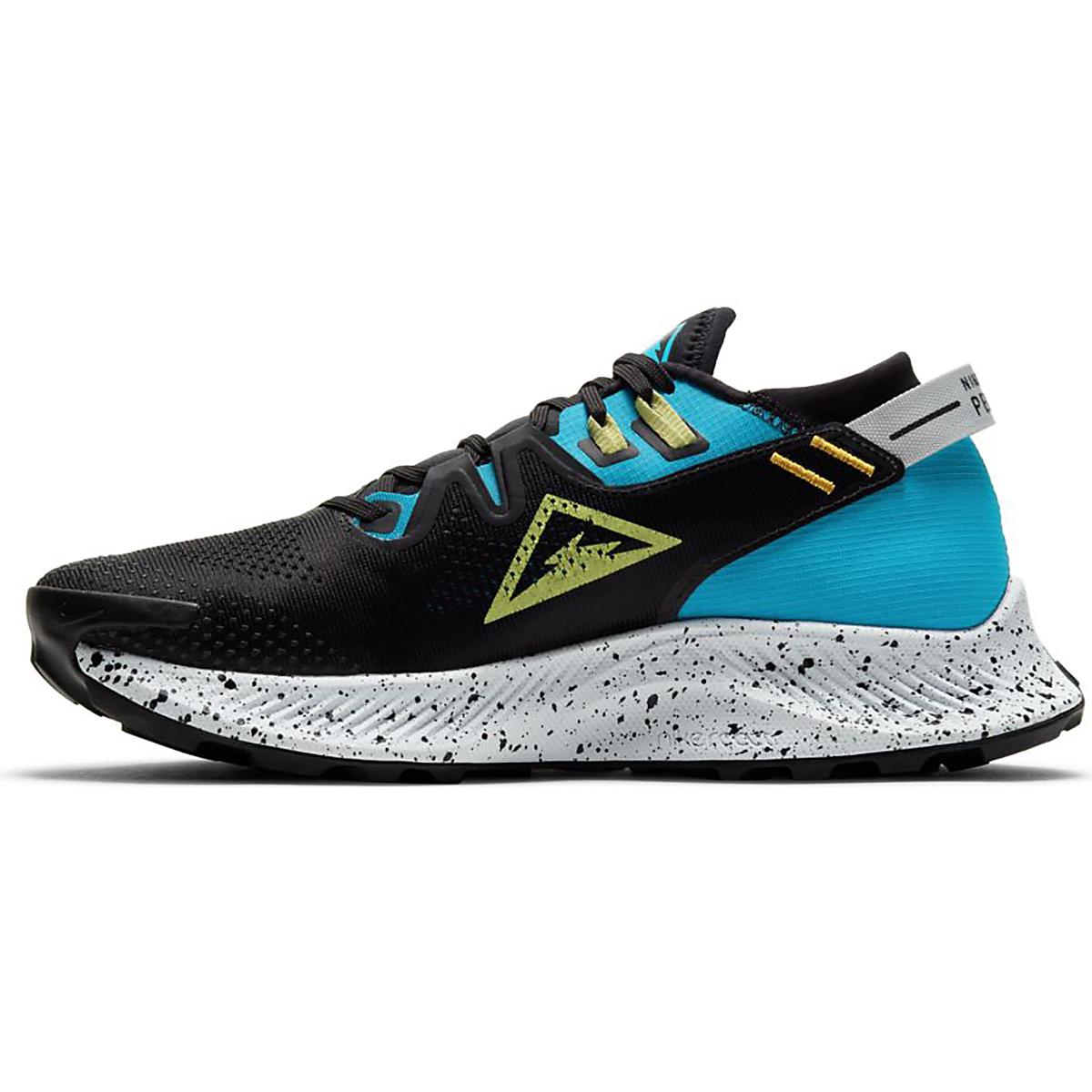 Women's Nike Pegasus Trail 2 Trail Running Shoe - Color: Off Noir/Limelight-Laser Blue - Size: 5 - Width: Regular, Off Noir/Limelight-Laser Blue, large, image 2
