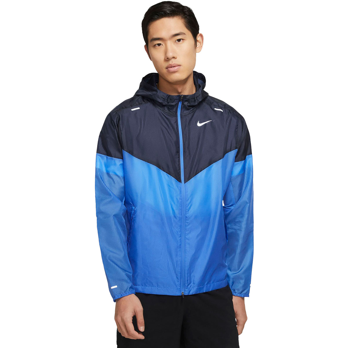 Men's Nike Windrunner Running Jacket - Color: Pacific Blue/Obsidian/Reflective Silver - Size: S, Pacific Blue/Obsidian/Reflective Silver, large, image 1