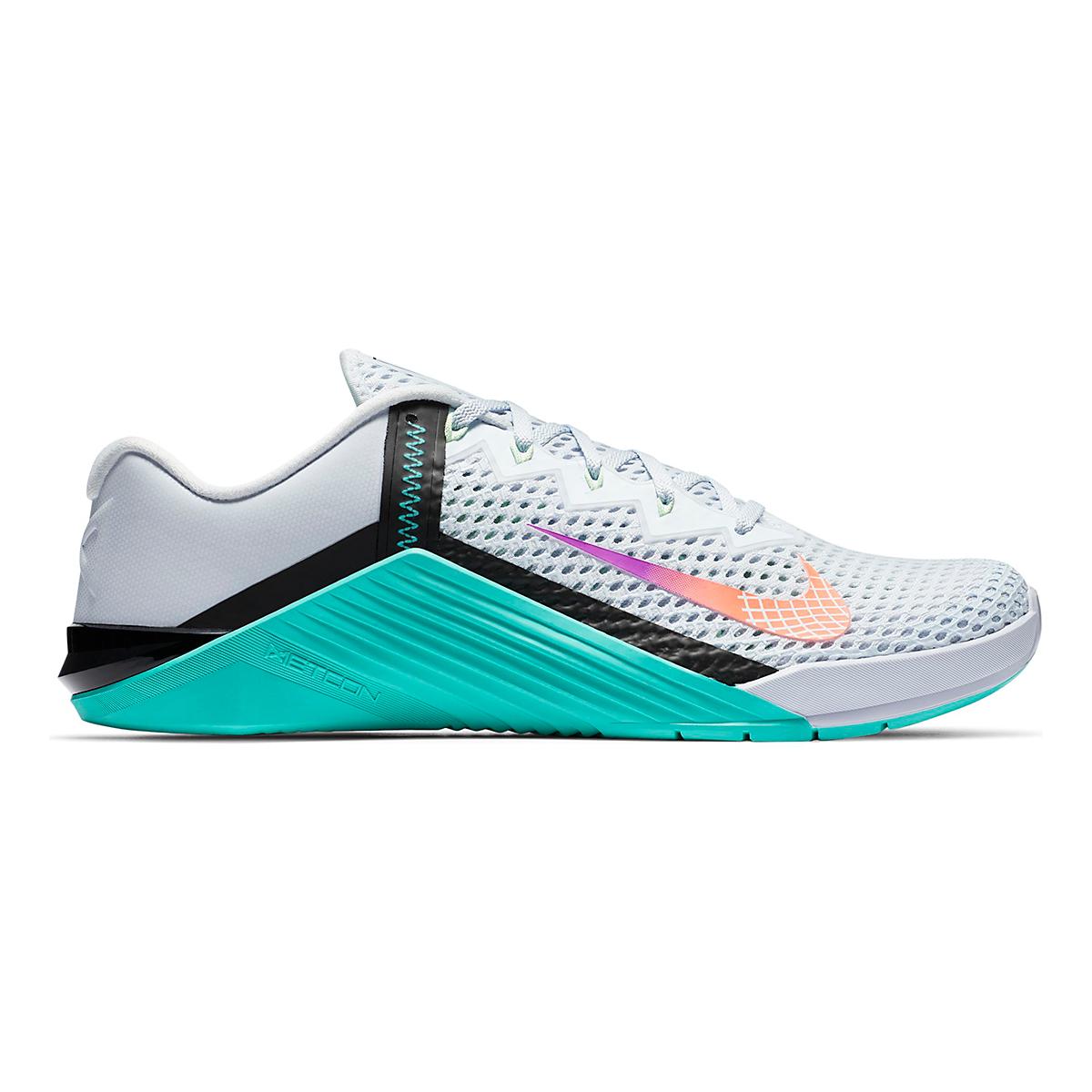 Men's Nike Nike Metcon 6 Training Shoes - Color: Football Grey/Hyper Jade/Black/Flash Crimson - Size: 3.5 - Width: Regular, Football Grey/Hyper Jade/Black/Flash Crimson, large, image 1