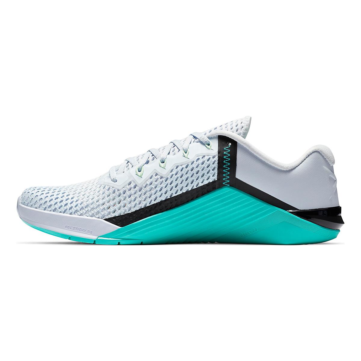 Men's Nike Nike Metcon 6 Training Shoes - Color: Football Grey/Hyper Jade/Black/Flash Crimson - Size: 3.5 - Width: Regular, Football Grey/Hyper Jade/Black/Flash Crimson, large, image 2