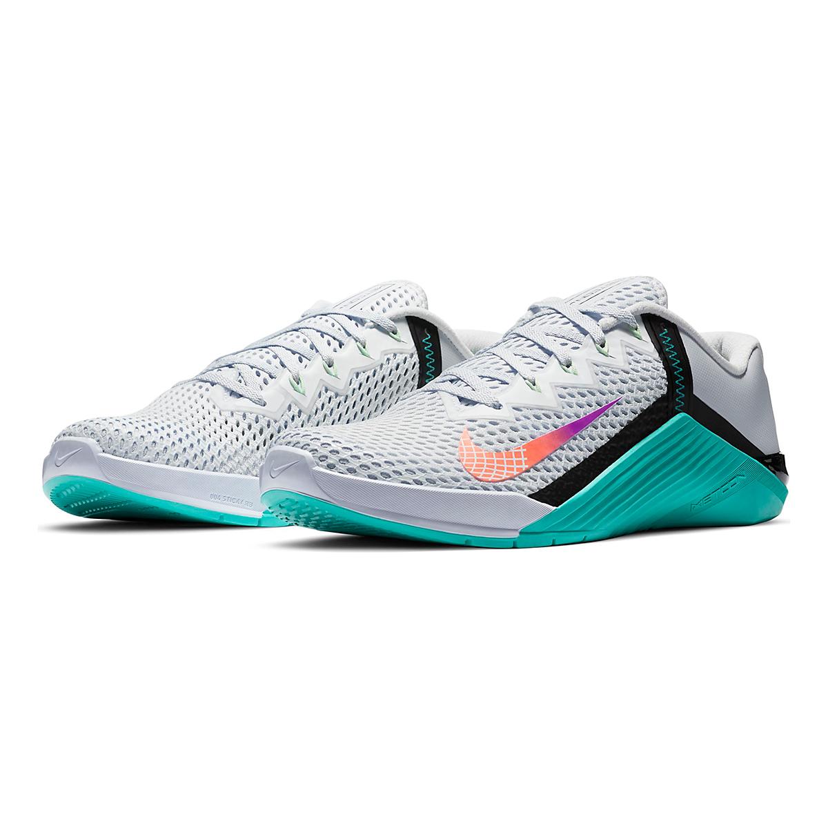 Men's Nike Nike Metcon 6 Training Shoes - Color: Football Grey/Hyper Jade/Black/Flash Crimson - Size: 3.5 - Width: Regular, Football Grey/Hyper Jade/Black/Flash Crimson, large, image 3