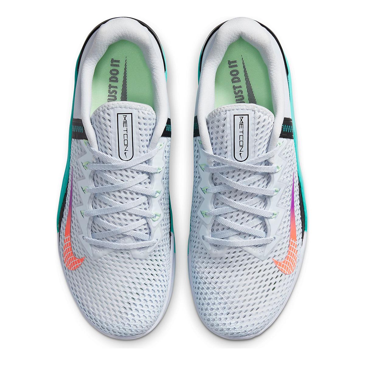 Men's Nike Nike Metcon 6 Training Shoes - Color: Football Grey/Hyper Jade/Black/Flash Crimson - Size: 3.5 - Width: Regular, Football Grey/Hyper Jade/Black/Flash Crimson, large, image 4