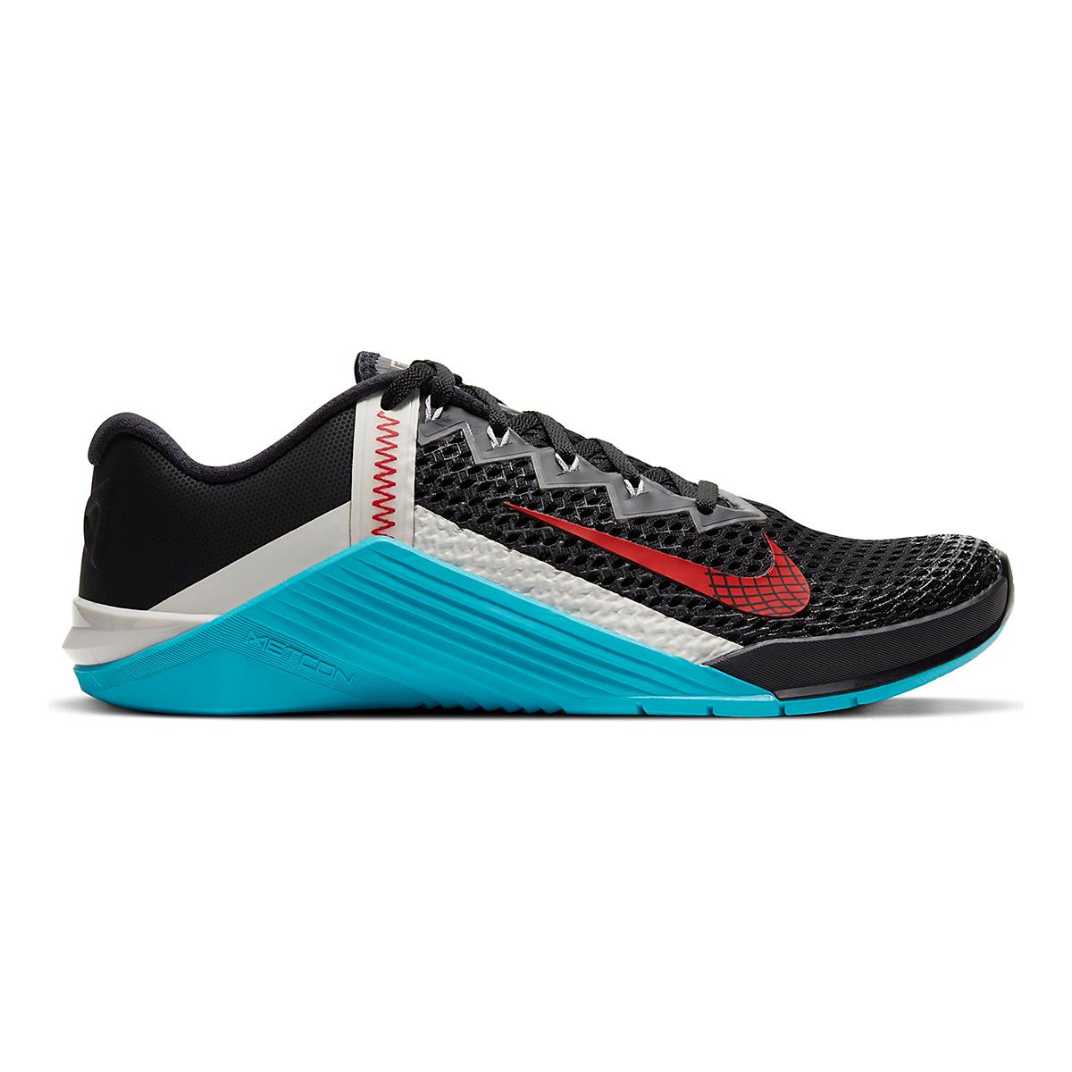 Men's Nike Metcon 6 Training Shoes - Color: Black/University Red/Light Blue Fury - Size: 5 - Width: Regular, Black/University Red/Light Blue Fury, large, image 1