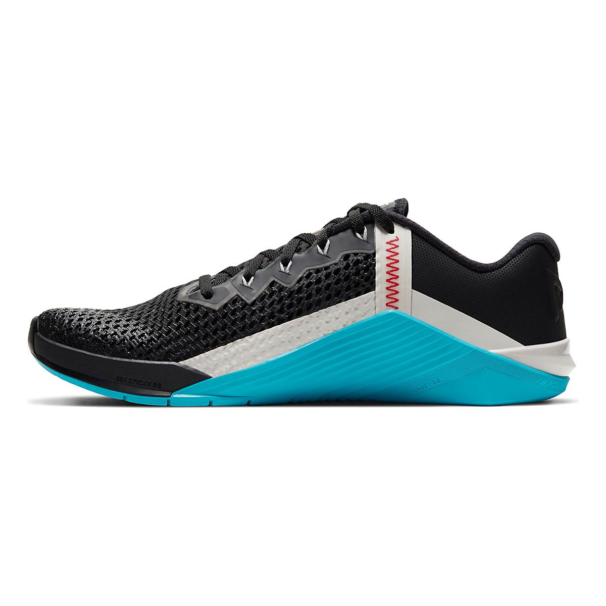 Men's Nike Metcon 6 Training Shoes - Color: Black/University Red/Light Blue Fury - Size: 5 - Width: Regular, Black/University Red/Light Blue Fury, large, image 2