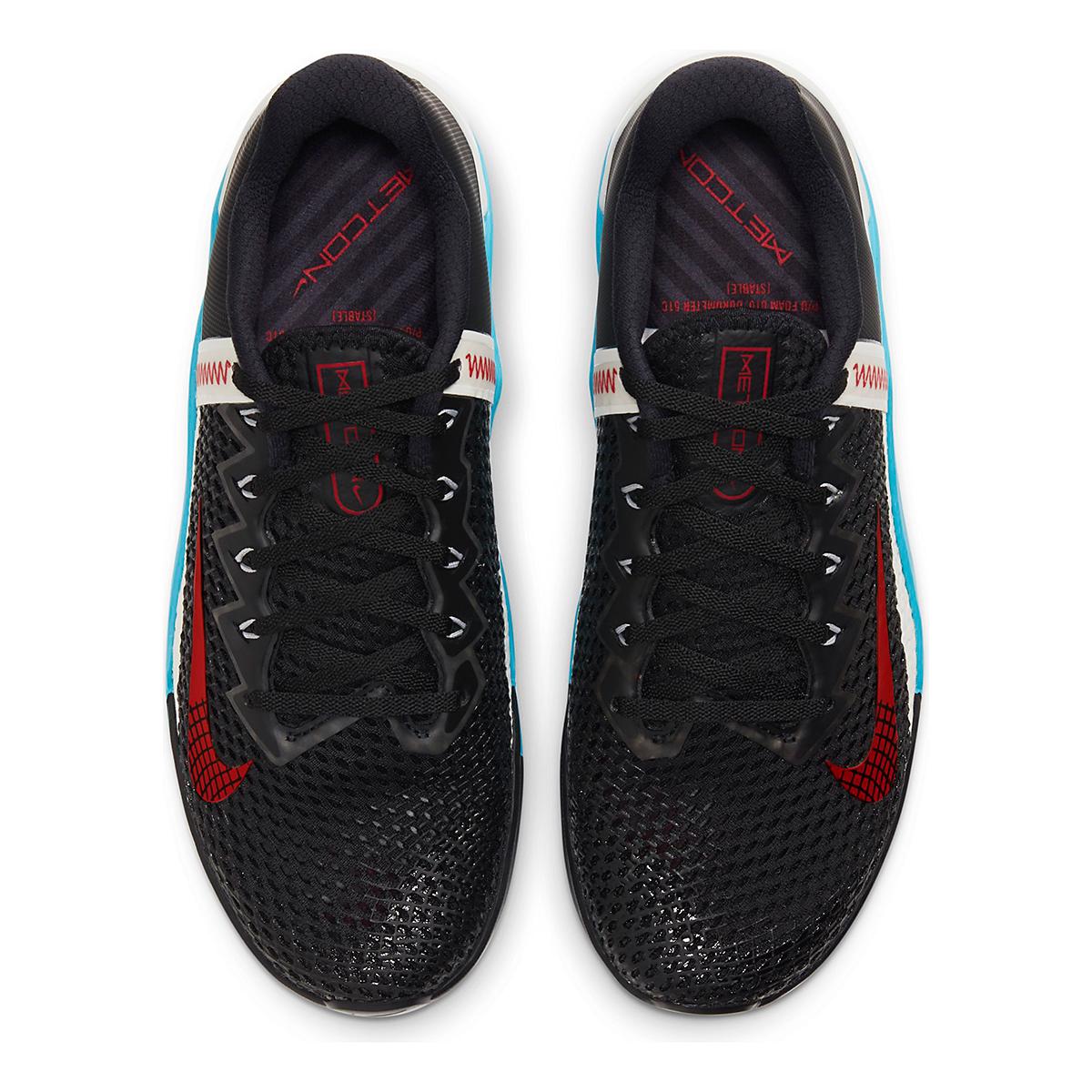 Men's Nike Metcon 6 Training Shoes - Color: Black/University Red/Light Blue Fury - Size: 5 - Width: Regular, Black/University Red/Light Blue Fury, large, image 4