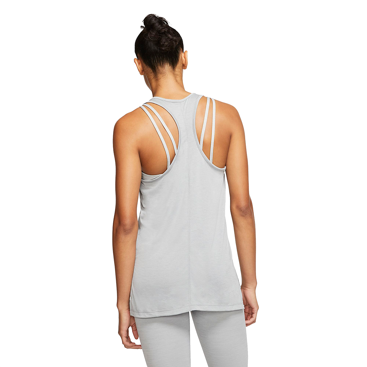 Women's Nike Yoga Layer Tank - Color: Particle Grey/Heather/Platinim Tint - Size: XS, Particle Grey/Heather/Platinim Tint, large, image 2