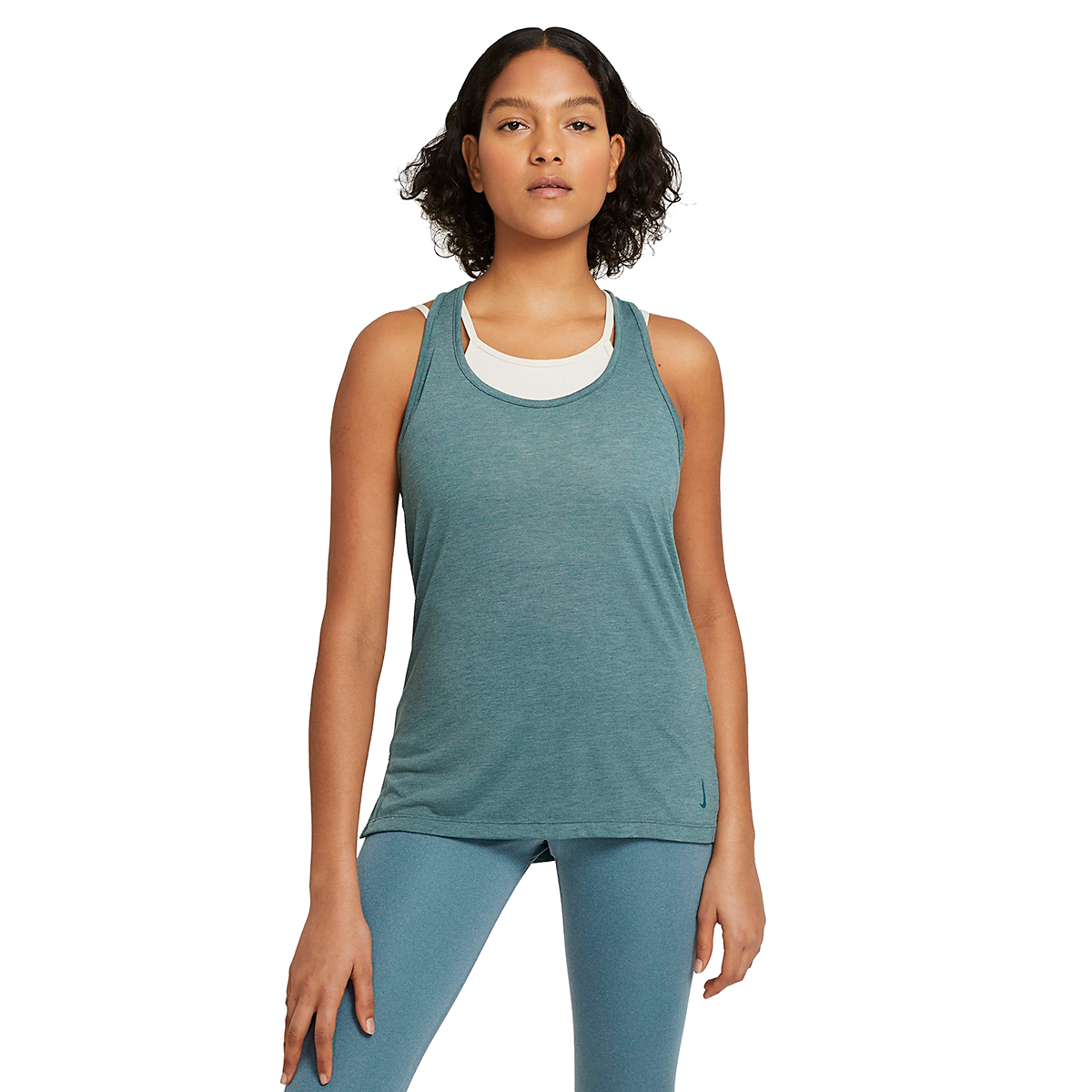 Women's Nike Yoga Layer Tank - Color: Hasta/Heather/Light Pumice/Dark Teal Green - Size: XS, Hasta/Heather/Light Pumice/Dark Teal Green, large, image 1