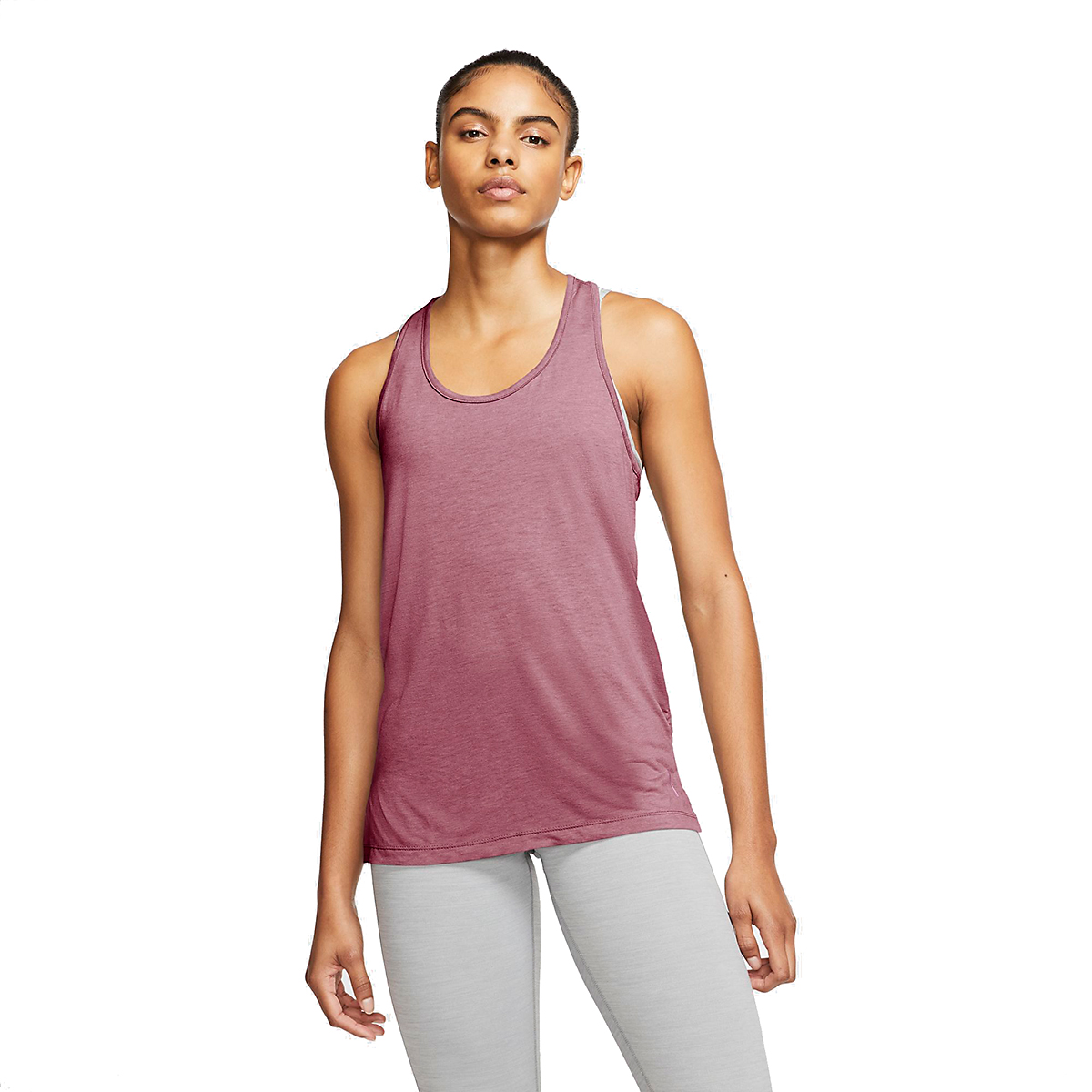 Women's Nike Yoga Layer Tank - Color: Desert Berry/Heather/Lite Arctic Pink - Size: M, Desert Berry/Heather/Lite Arctic Pink, large, image 1
