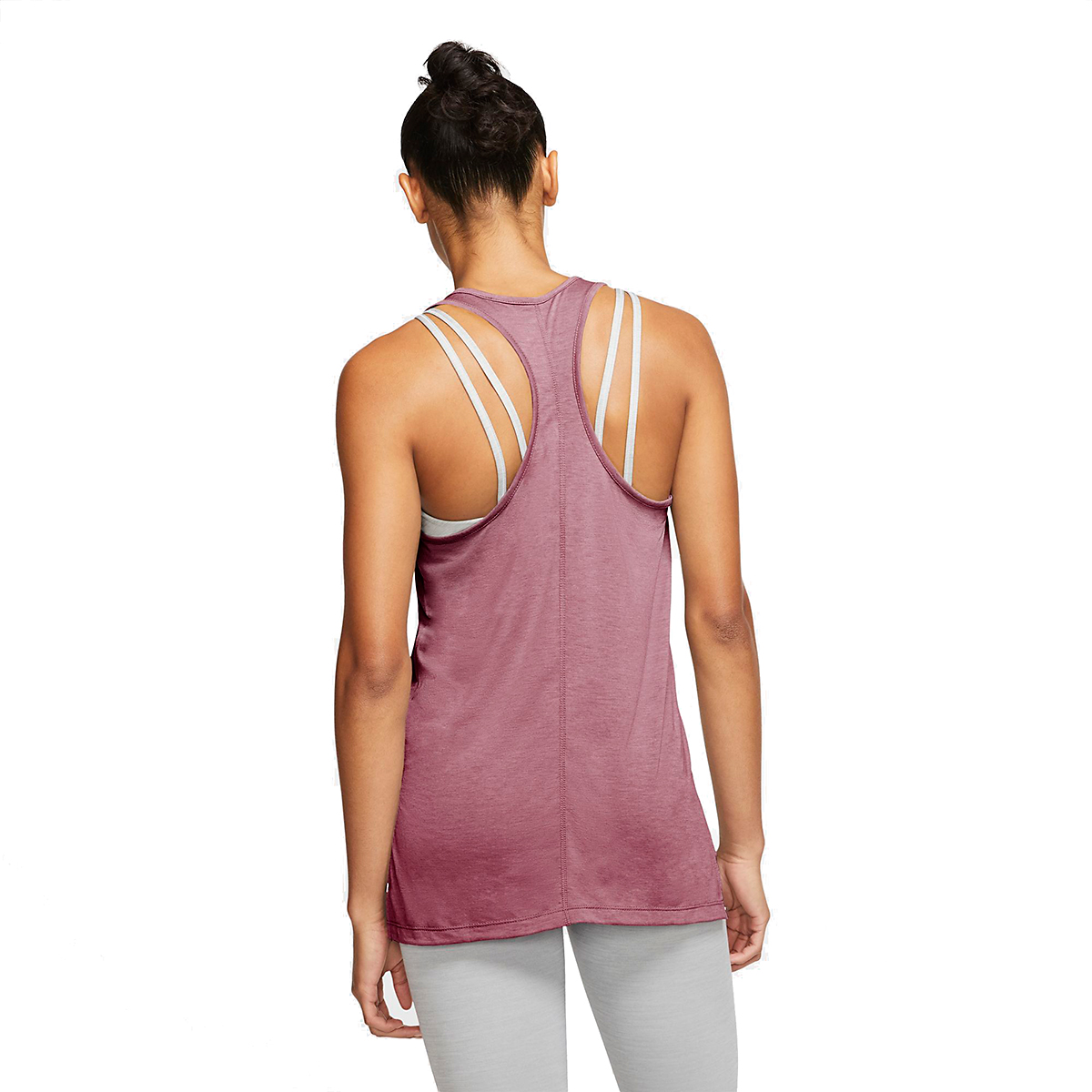 Women's Nike Yoga Layer Tank - Color: Desert Berry/Heather/Lite Arctic Pink - Size: M, Desert Berry/Heather/Lite Arctic Pink, large, image 2