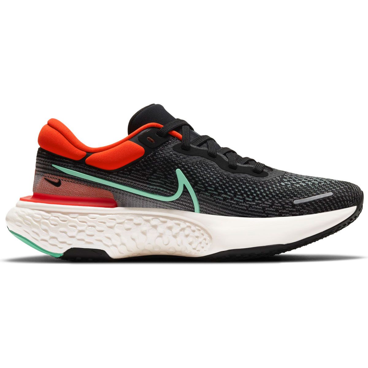 Men's Nike Zoomx Invincible Run FlyKnit Running Shoe - Color: Black/Green Glow/Chile Red - Size: 6 - Width: Regular, Black/Green Glow/Chile Red, large, image 1