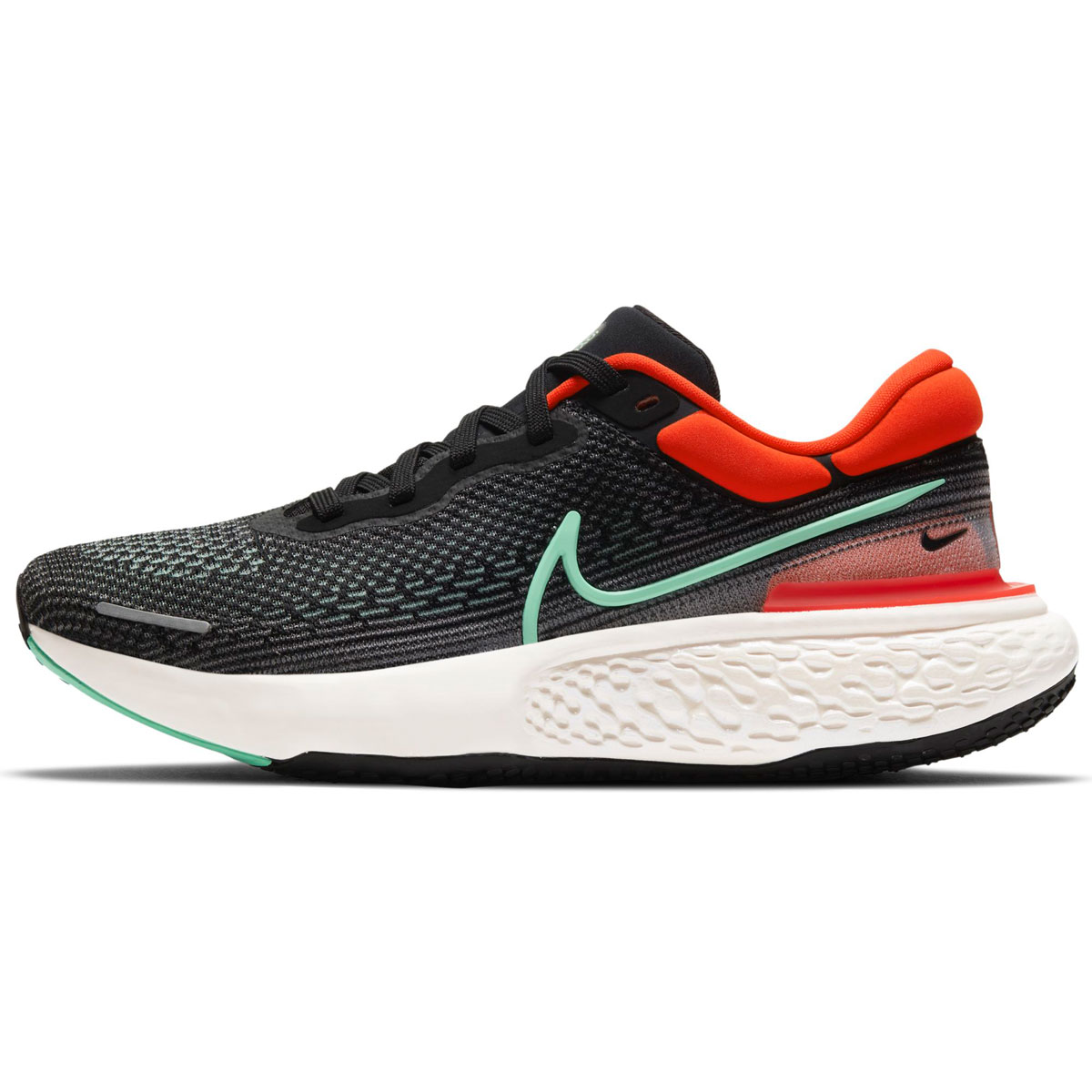 Men's Nike Zoomx Invincible Run FlyKnit Running Shoe - Color: Black/Green Glow/Chile Red - Size: 6 - Width: Regular, Black/Green Glow/Chile Red, large, image 2